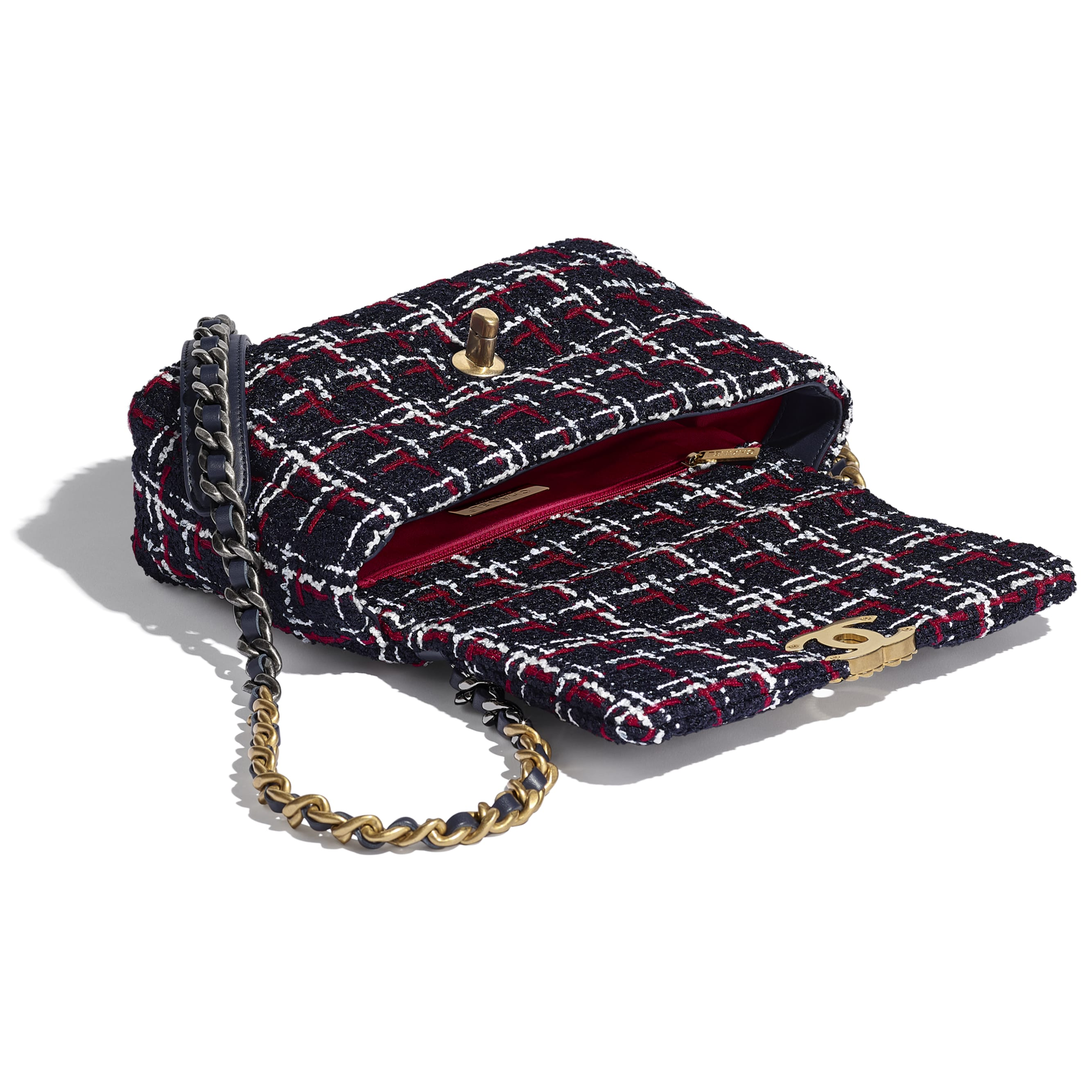 CHANEL 19 Flap Bag - Navy Blue, White & Red - Tweed, Gold-Tone, Silver-Tone & Ruthenium-Finish Metal - CHANEL - Other view - see standard sized version
