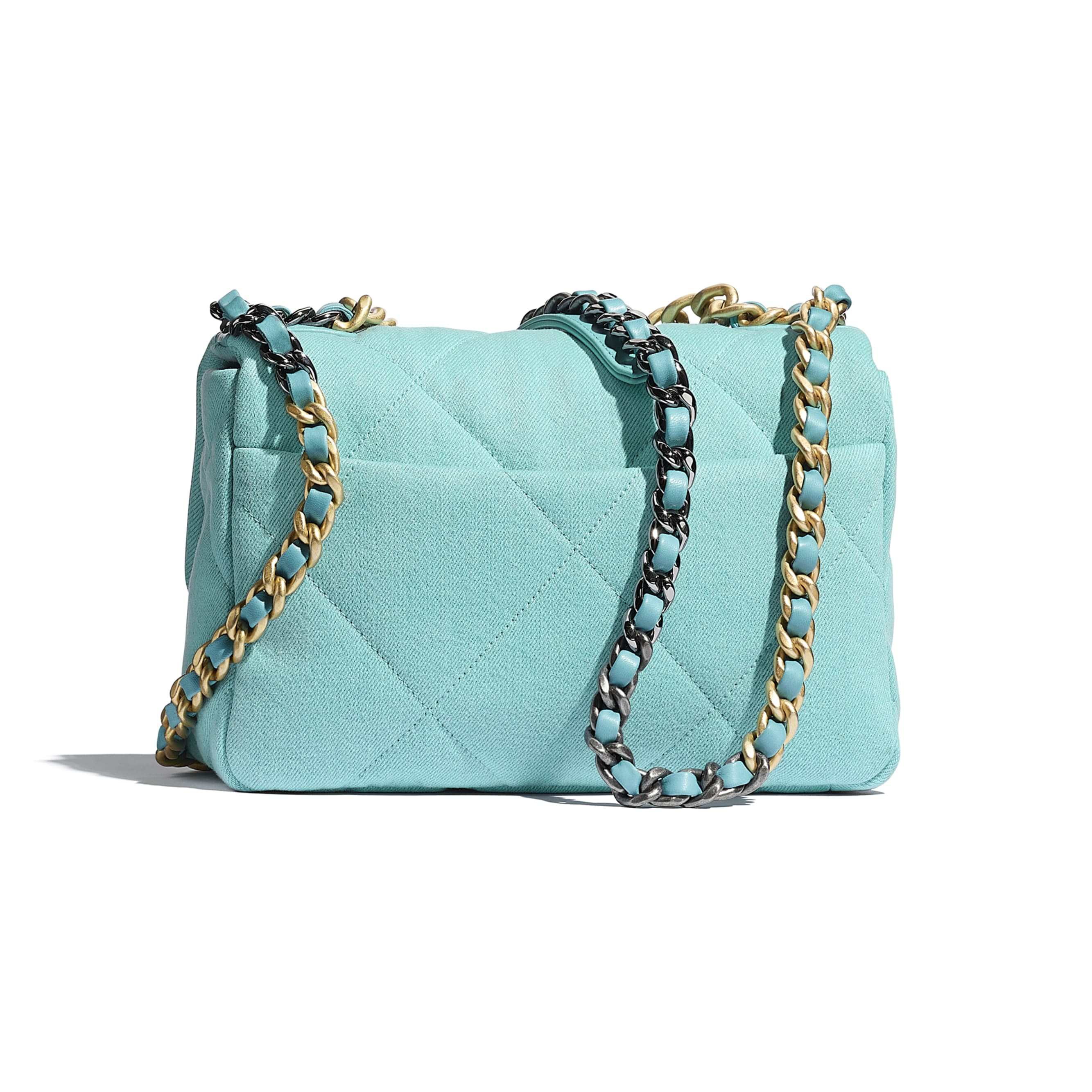 CHANEL 19 Flap Bag - Neon Blue - Denim, Calfskin, Gold-Tone, Silver-Tone & Ruthenium-Finish Metal - CHANEL - Alternative view - see standard sized version
