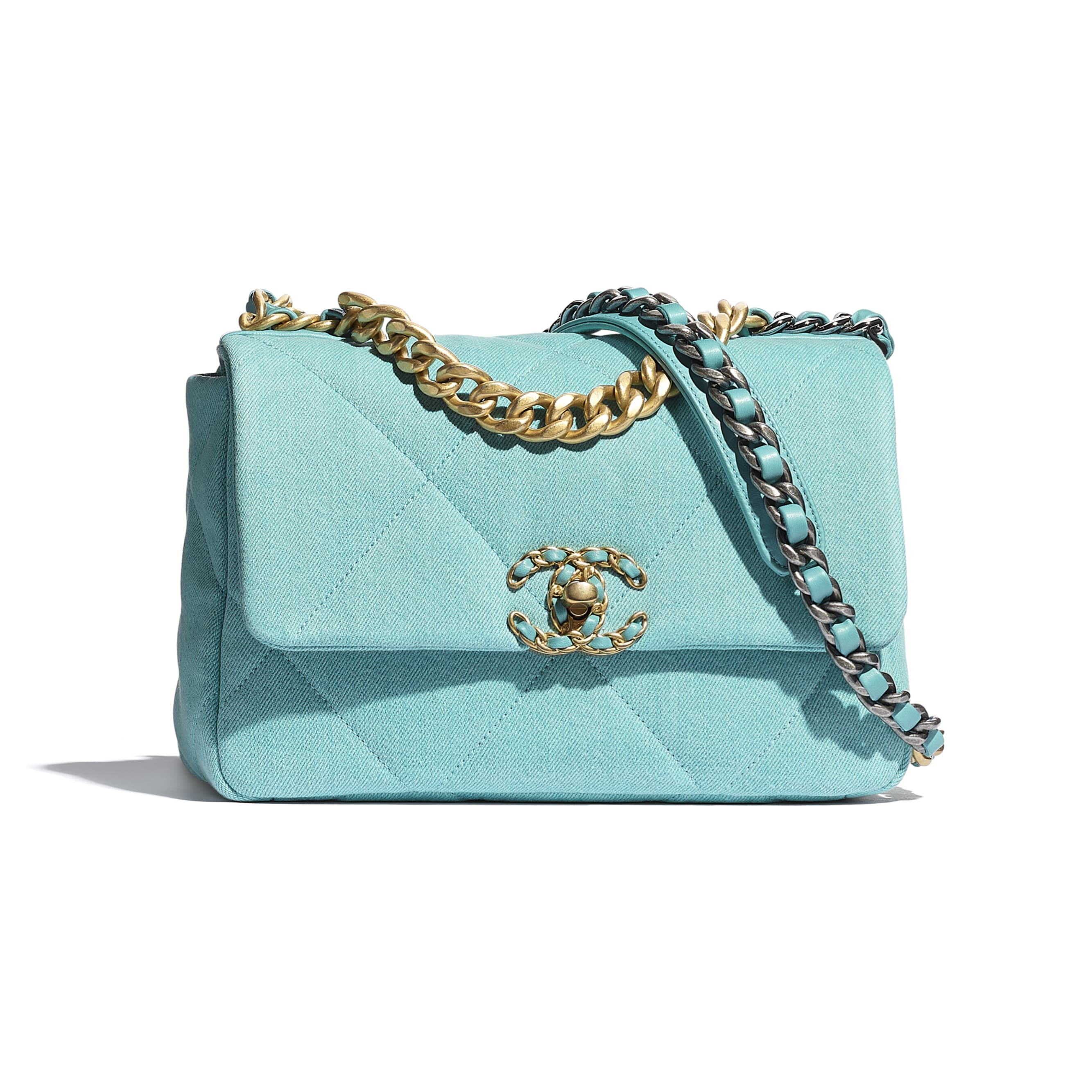 CHANEL 19 Flap Bag - Neon Blue - Denim, Calfskin, Gold-Tone, Silver-Tone & Ruthenium-Finish Metal - CHANEL - Default view - see standard sized version