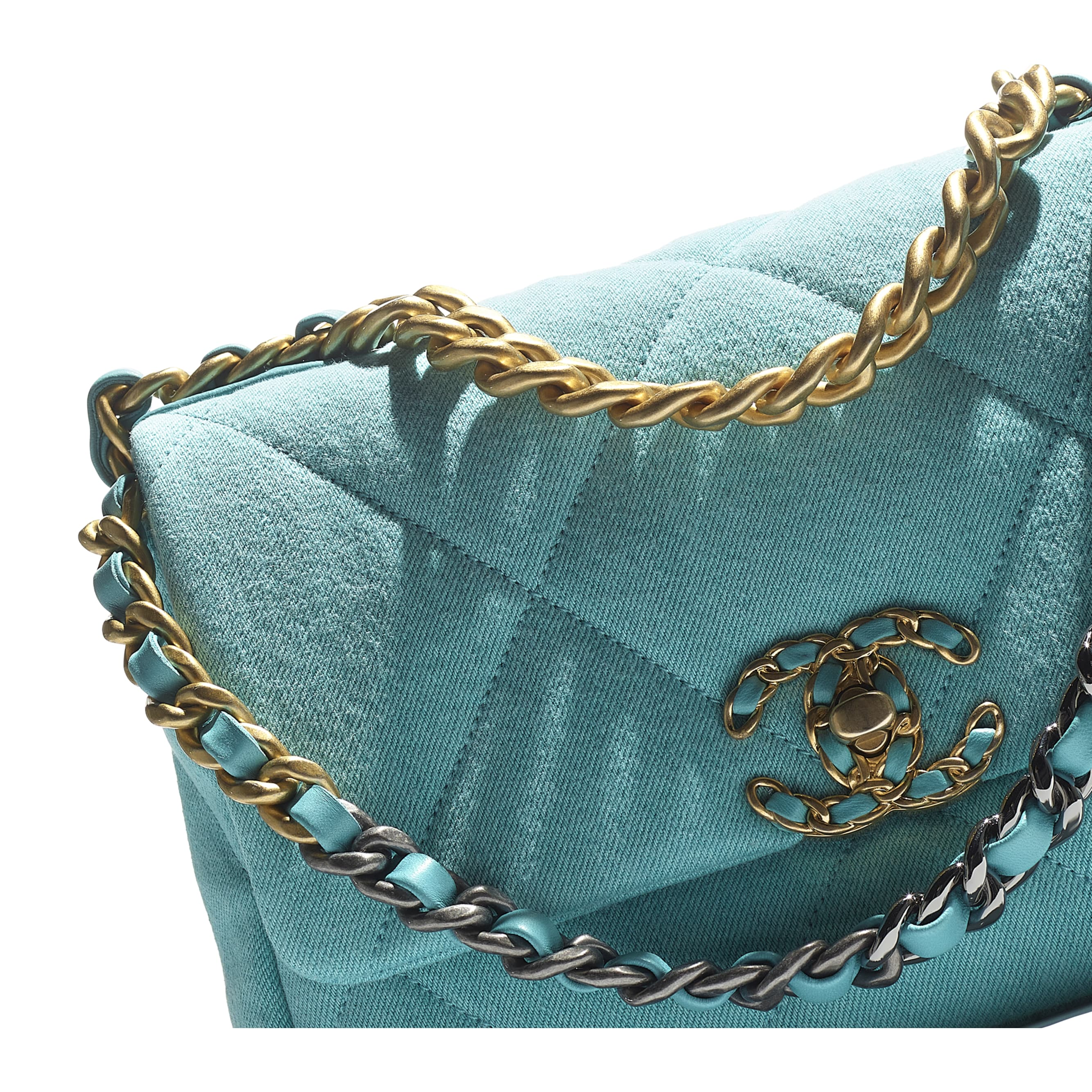 CHANEL 19 Flap Bag - Neon Blue - Denim, Calfskin, Gold-Tone, Silver-Tone & Ruthenium-Finish Metal - CHANEL - Extra view - see standard sized version