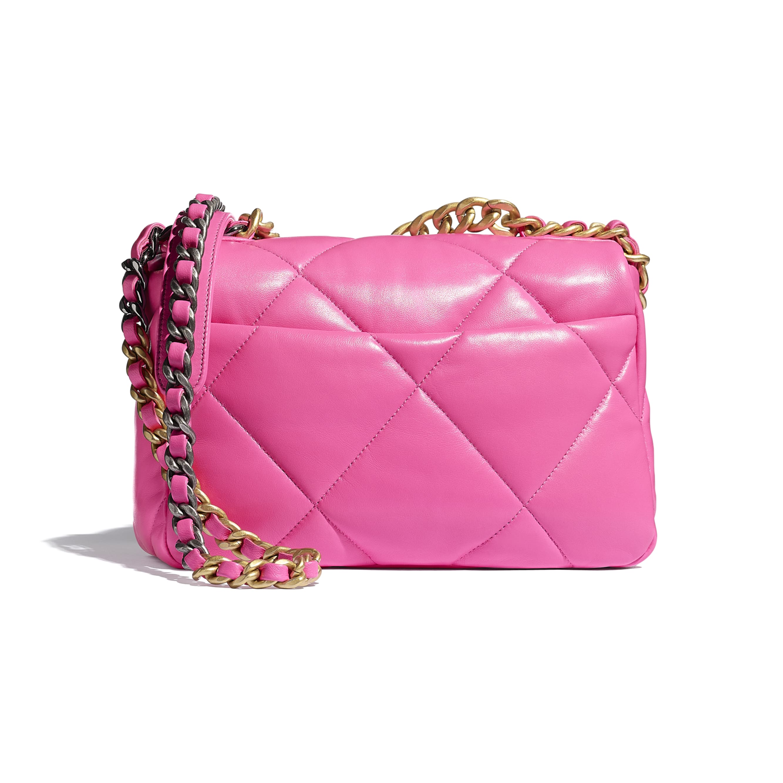 CHANEL 19 Flap Bag - Neon Pink - Shiny Lambskin, Gold-Tone, Silver-Tone & Ruthenium-Finish Metal - CHANEL - Alternative view - see standard sized version