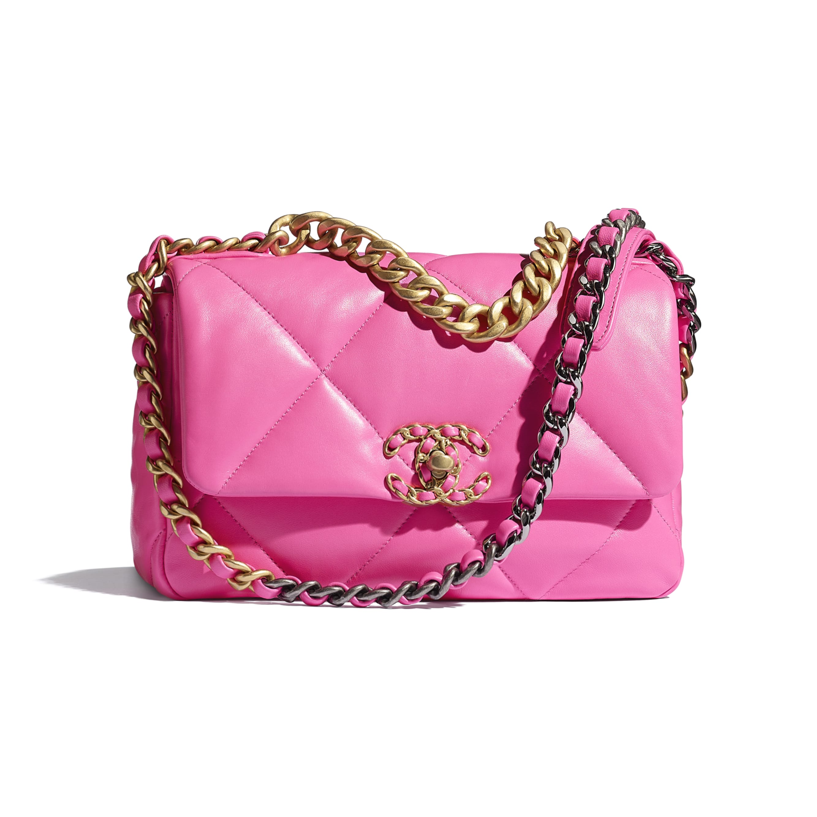 CHANEL 19 Flap Bag - Neon Pink - Shiny Lambskin, Gold-Tone, Silver-Tone & Ruthenium-Finish Metal - CHANEL - Default view - see standard sized version