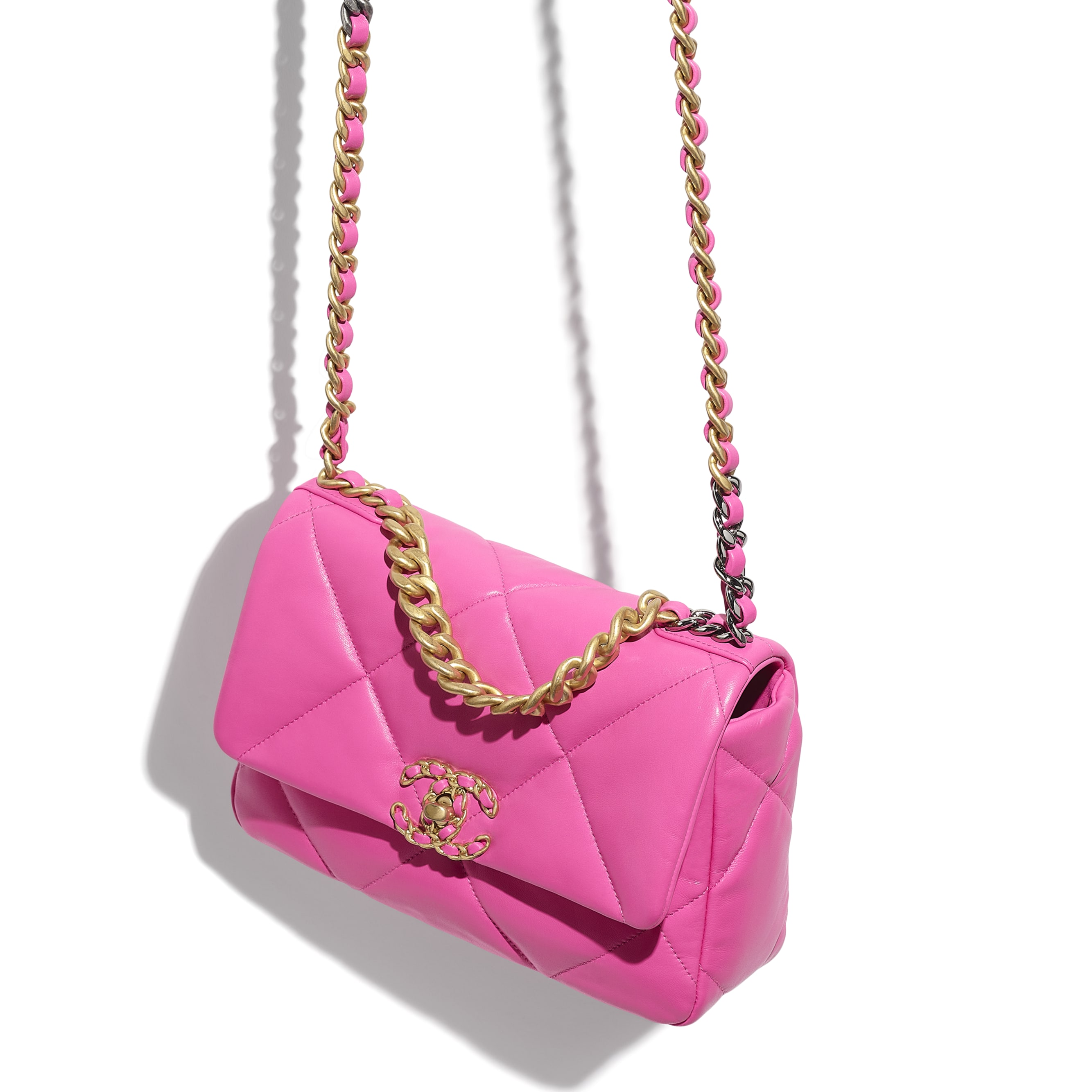 CHANEL 19 Flap Bag - Neon Pink - Shiny Lambskin, Gold-Tone, Silver-Tone & Ruthenium-Finish Metal - CHANEL - Extra view - see standard sized version