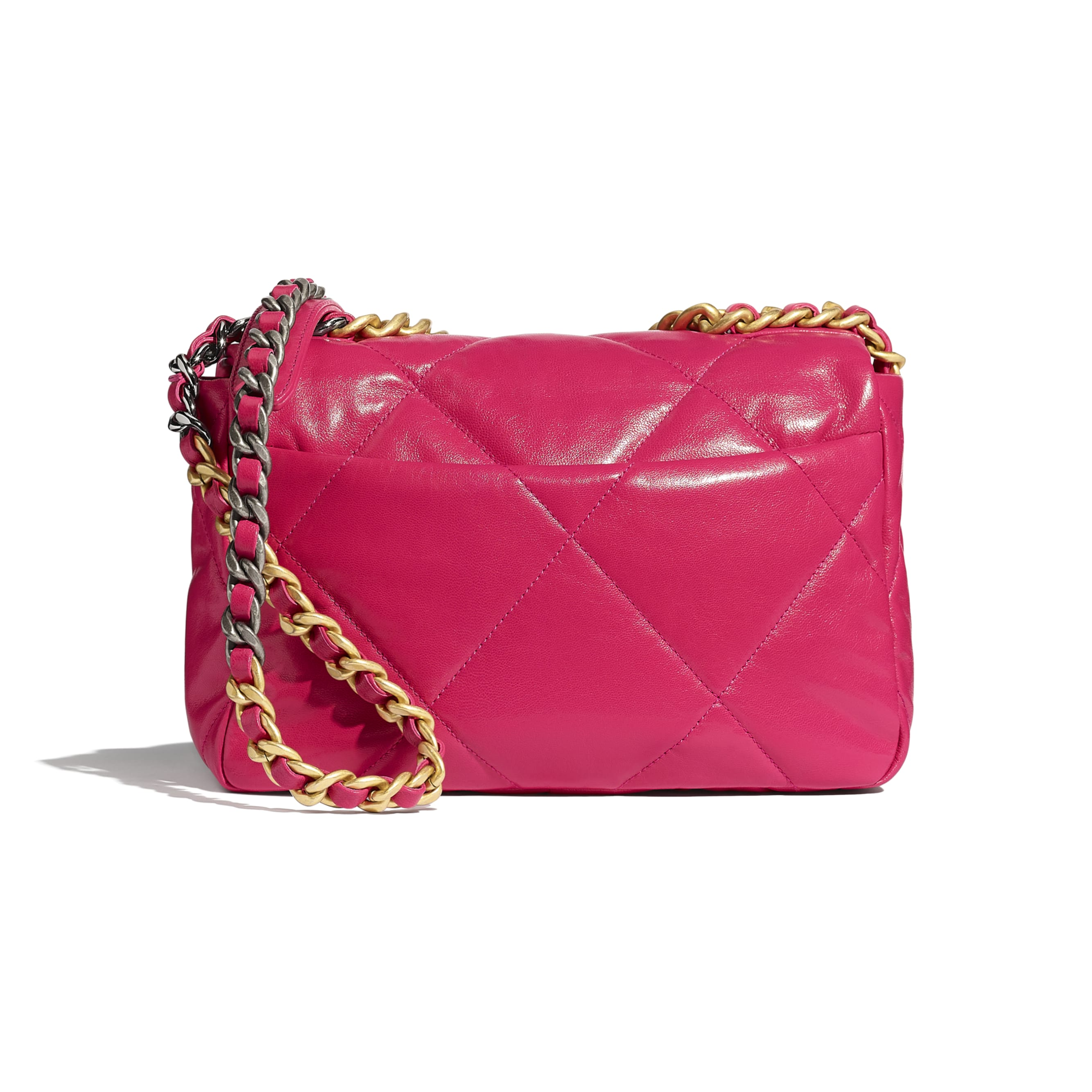 CHANEL 19 Flap Bag - Pink - Goatskin, Gold-Tone, Silver-Tone & Ruthenium-Finish Metal - CHANEL - Alternative view - see standard sized version