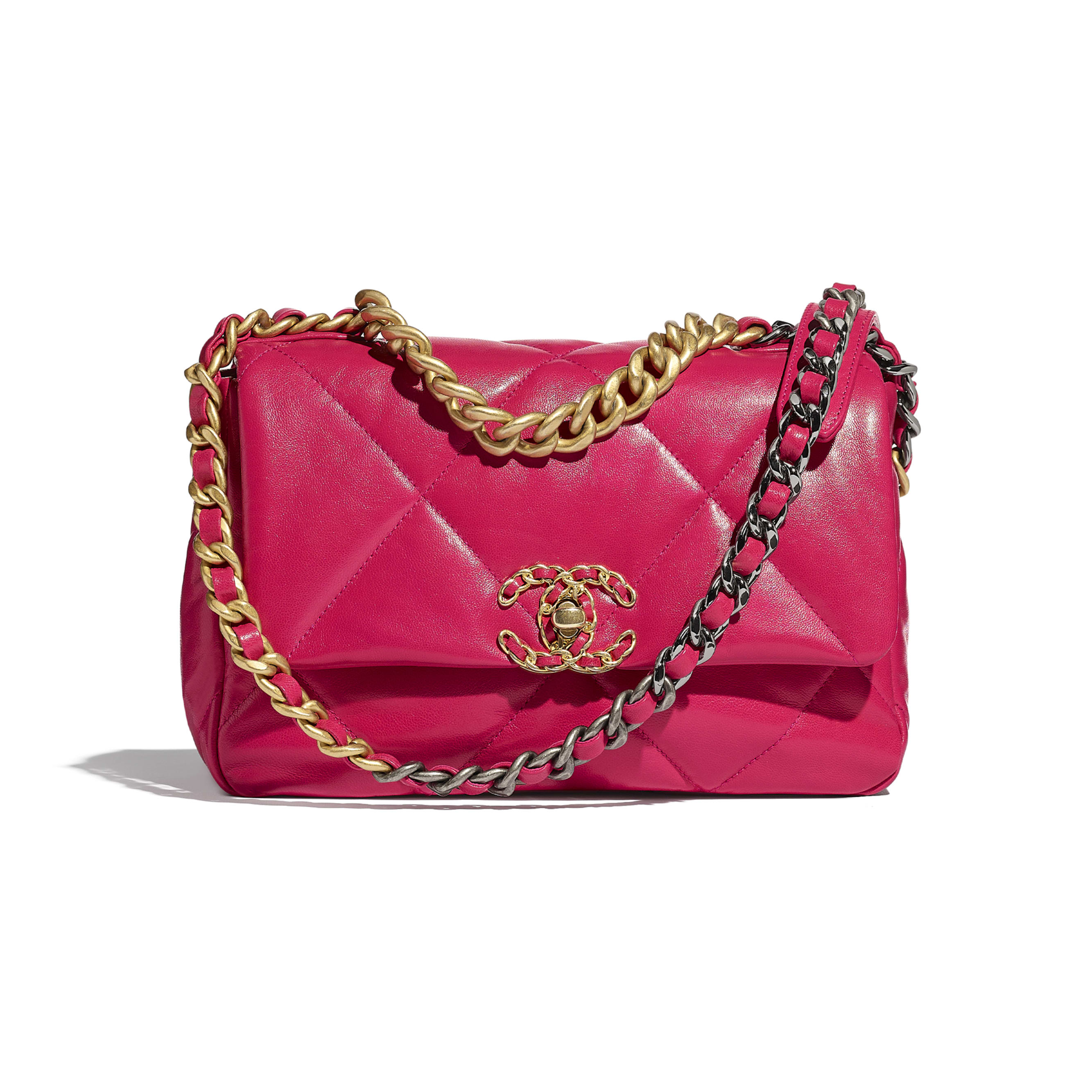 CHANEL 19 Flap Bag - Pink - Goatskin, Gold-Tone, Silver-Tone & Ruthenium-Finish Metal - CHANEL - Default view - see standard sized version
