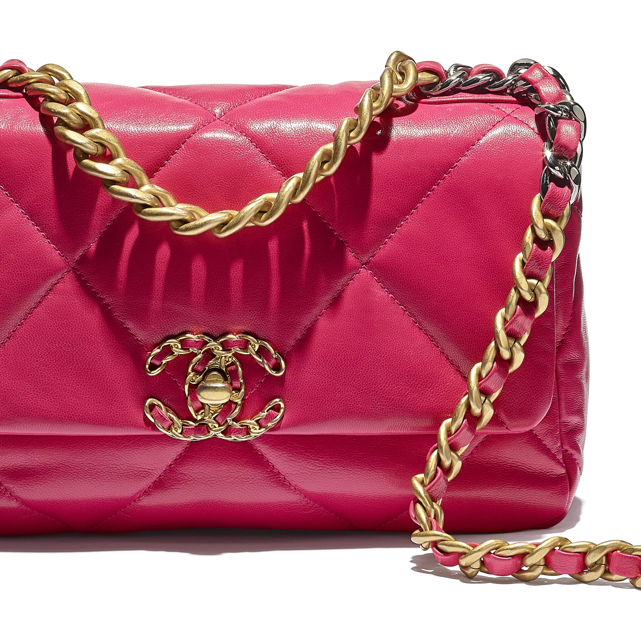 CHANEL 19 Flap Bag - Pink - Goatskin, Gold-Tone, Silver-Tone & Ruthenium-Finish Metal - CHANEL - Extra view - see standard sized version