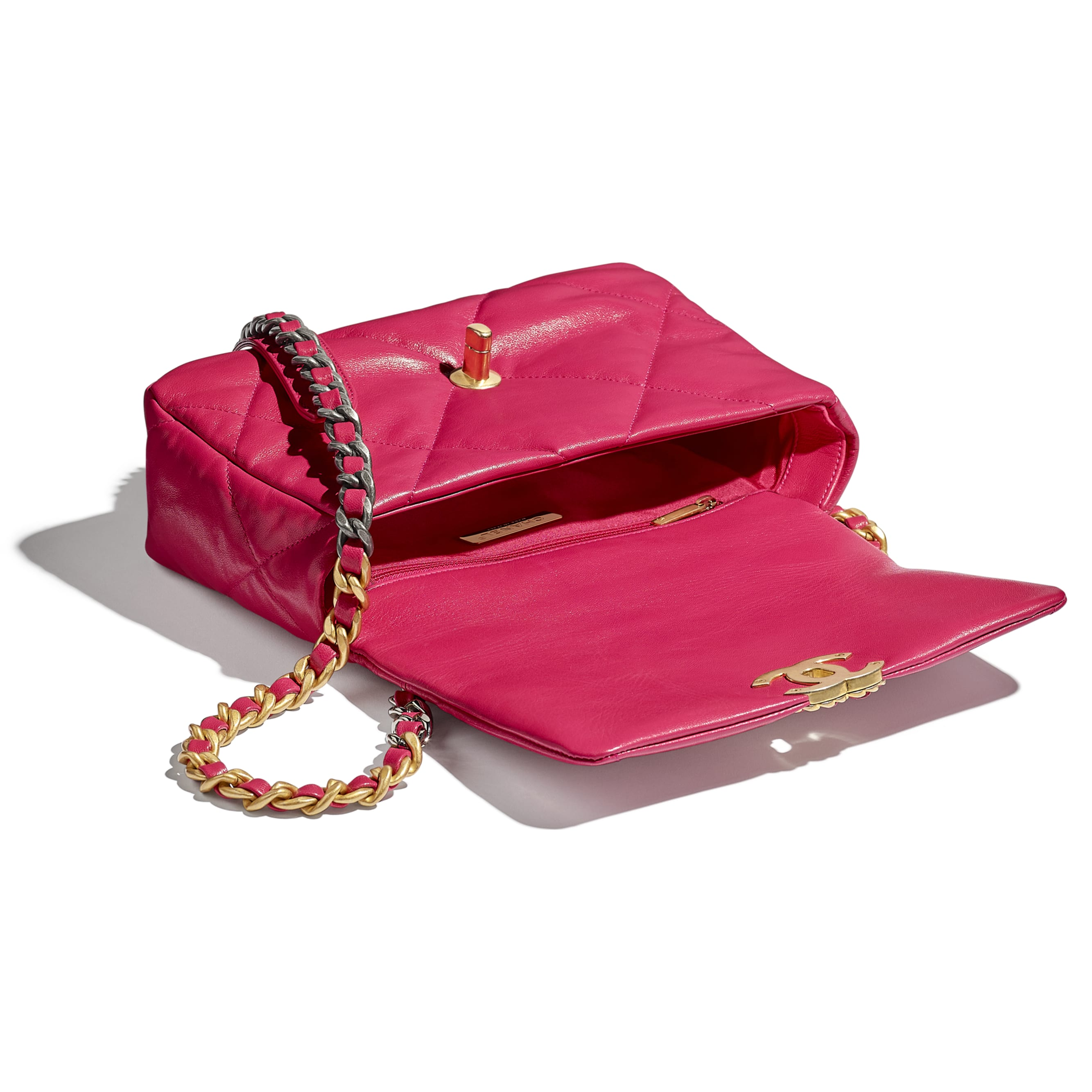 CHANEL 19 Flap Bag - Pink - Goatskin, Gold-Tone, Silver-Tone & Ruthenium-Finish Metal - CHANEL - Other view - see standard sized version