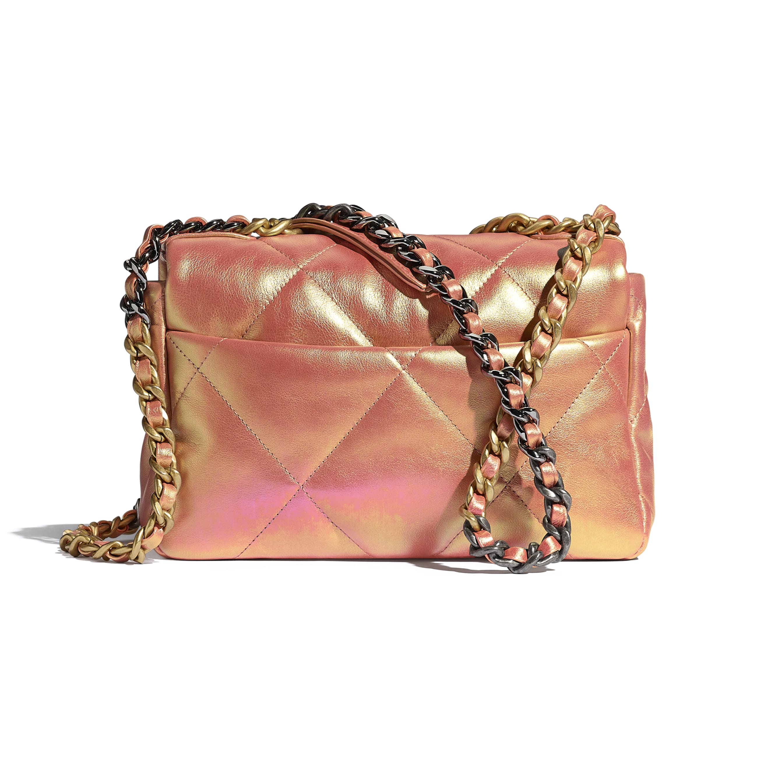 CHANEL 19 Flap Bag - Pink - Iridescent Calfskin, Gold-Tone, Silver-Tone & Ruthenium-Finish Metal - CHANEL - Alternative view - see standard sized version