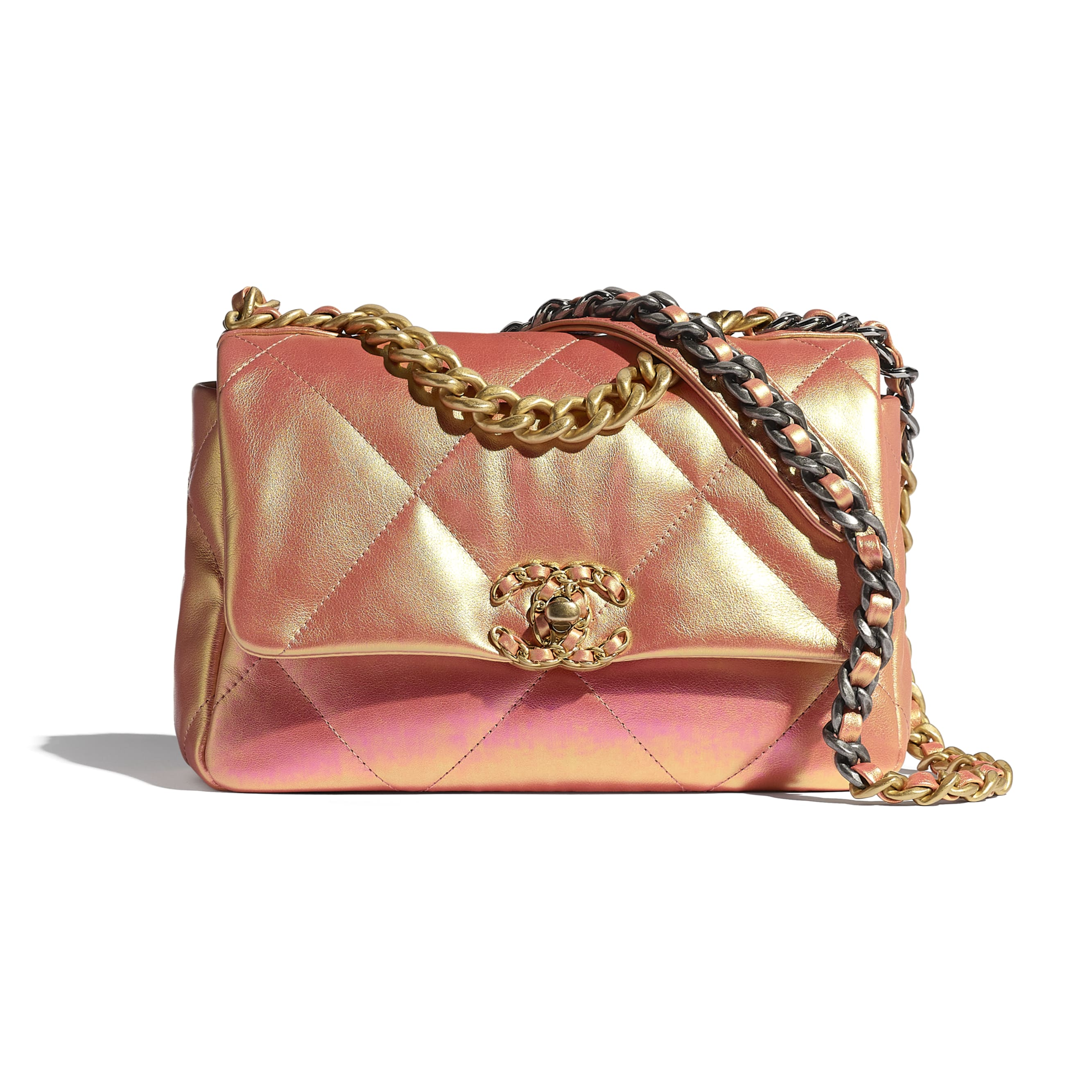CHANEL 19 Flap Bag - Pink - Iridescent Calfskin, Gold-Tone, Silver-Tone & Ruthenium-Finish Metal - CHANEL - Default view - see standard sized version