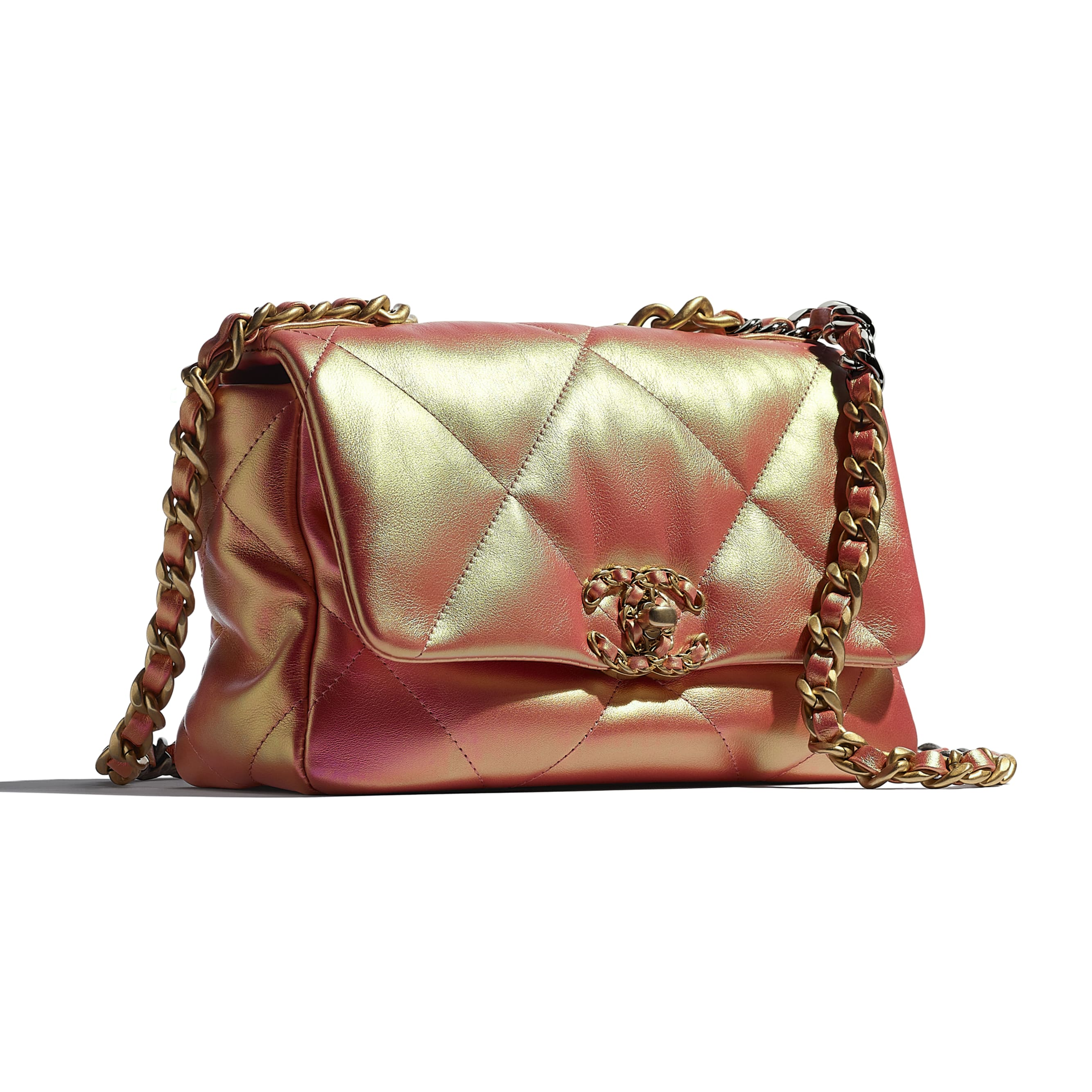 CHANEL 19 Flap Bag - Pink - Iridescent Calfskin, Gold-Tone, Silver-Tone & Ruthenium-Finish Metal - CHANEL - Extra view - see standard sized version
