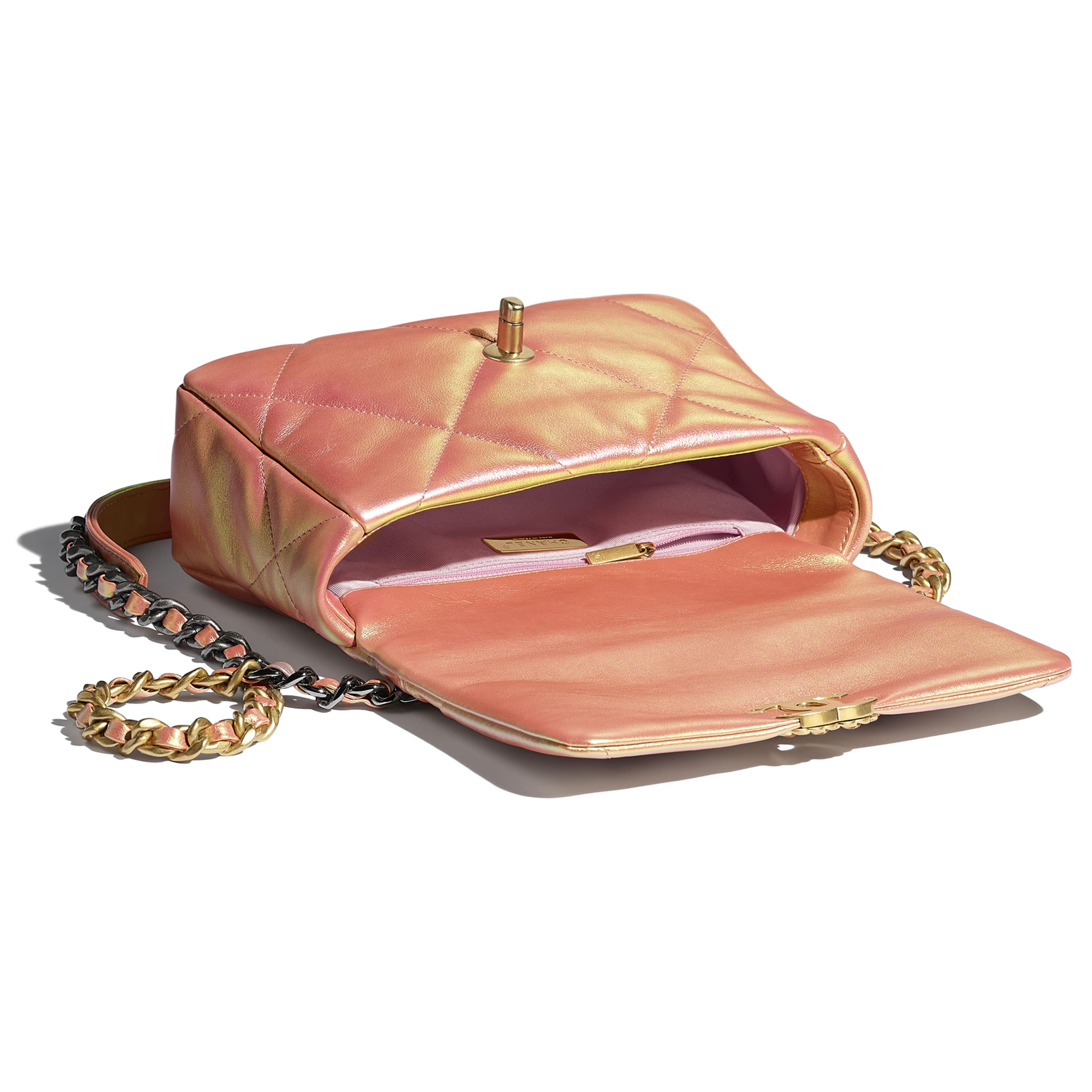 CHANEL 19 Flap Bag - Pink - Iridescent Calfskin, Gold-Tone, Silver-Tone & Ruthenium-Finish Metal - CHANEL - Other view - see standard sized version