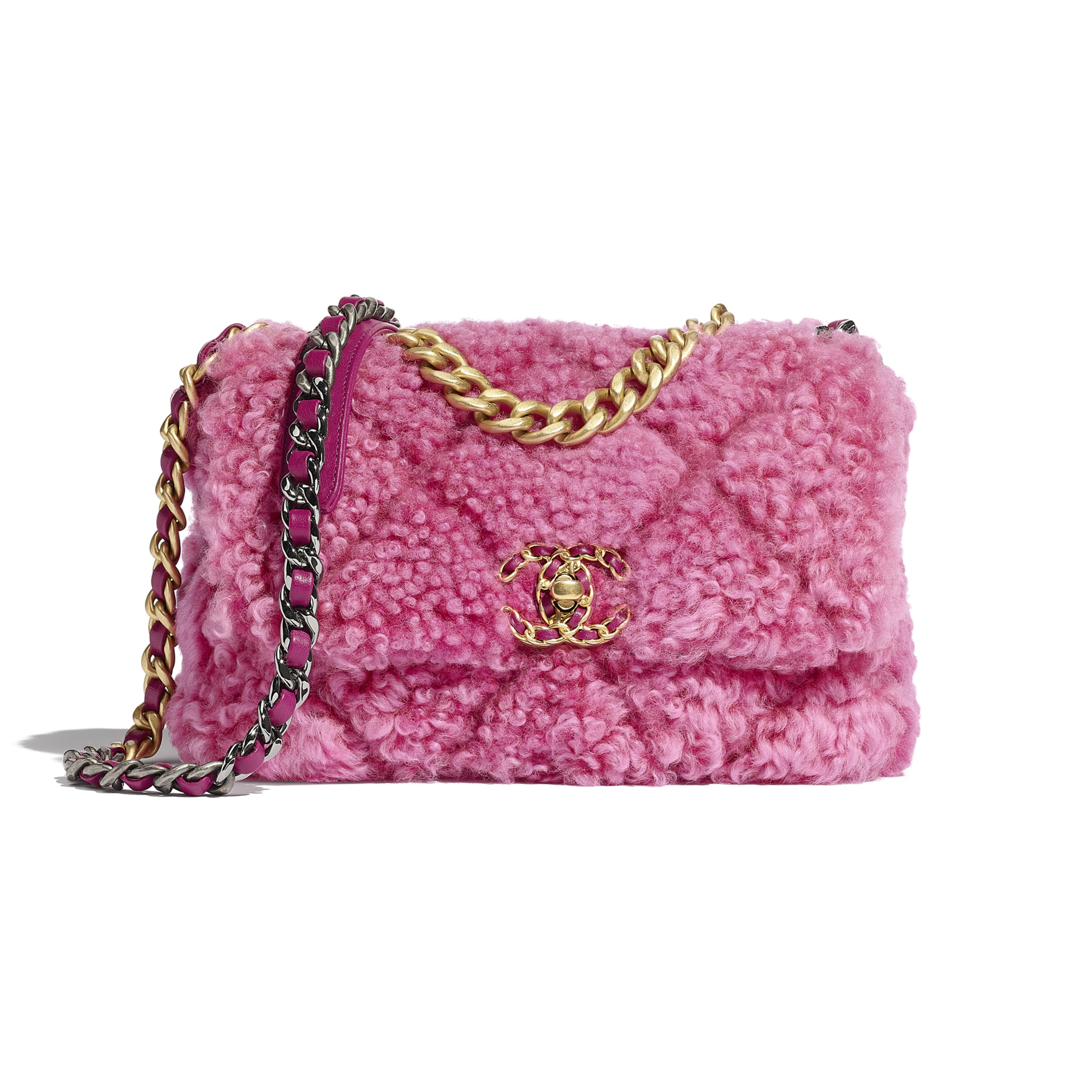 CHANEL 19 Flap Bag - Pink - Shearling Sheepskin, Gold-Tone, Silver-Tone & Ruthenium-Finish Metal - CHANEL - Default view - see standard sized version