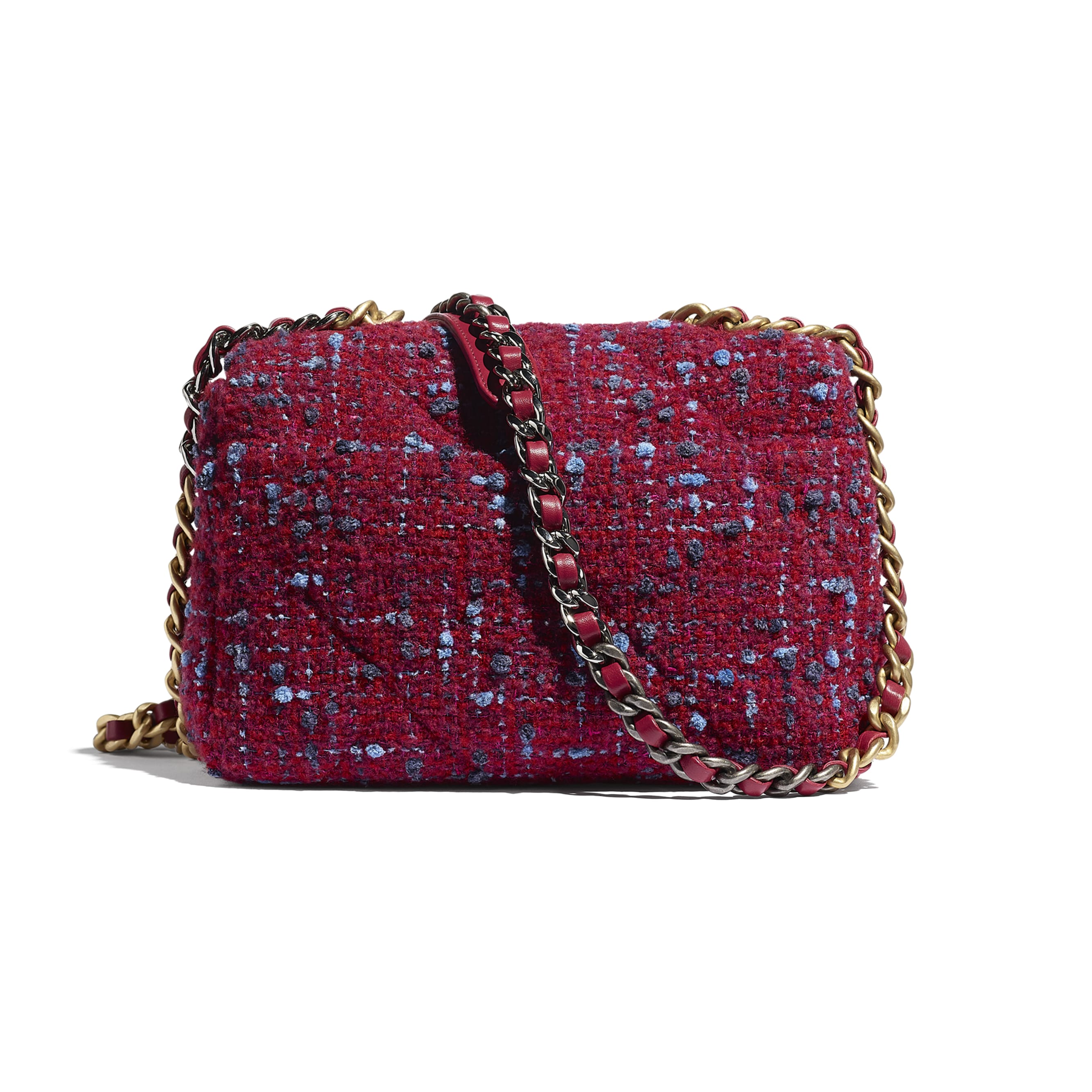 CHANEL 19 Flap Bag - Raspberry Pink - Wool Tweed, Gold-Tone, Silver-Tone & Ruthenium-Finish Metal - CHANEL - Alternative view - see standard sized version