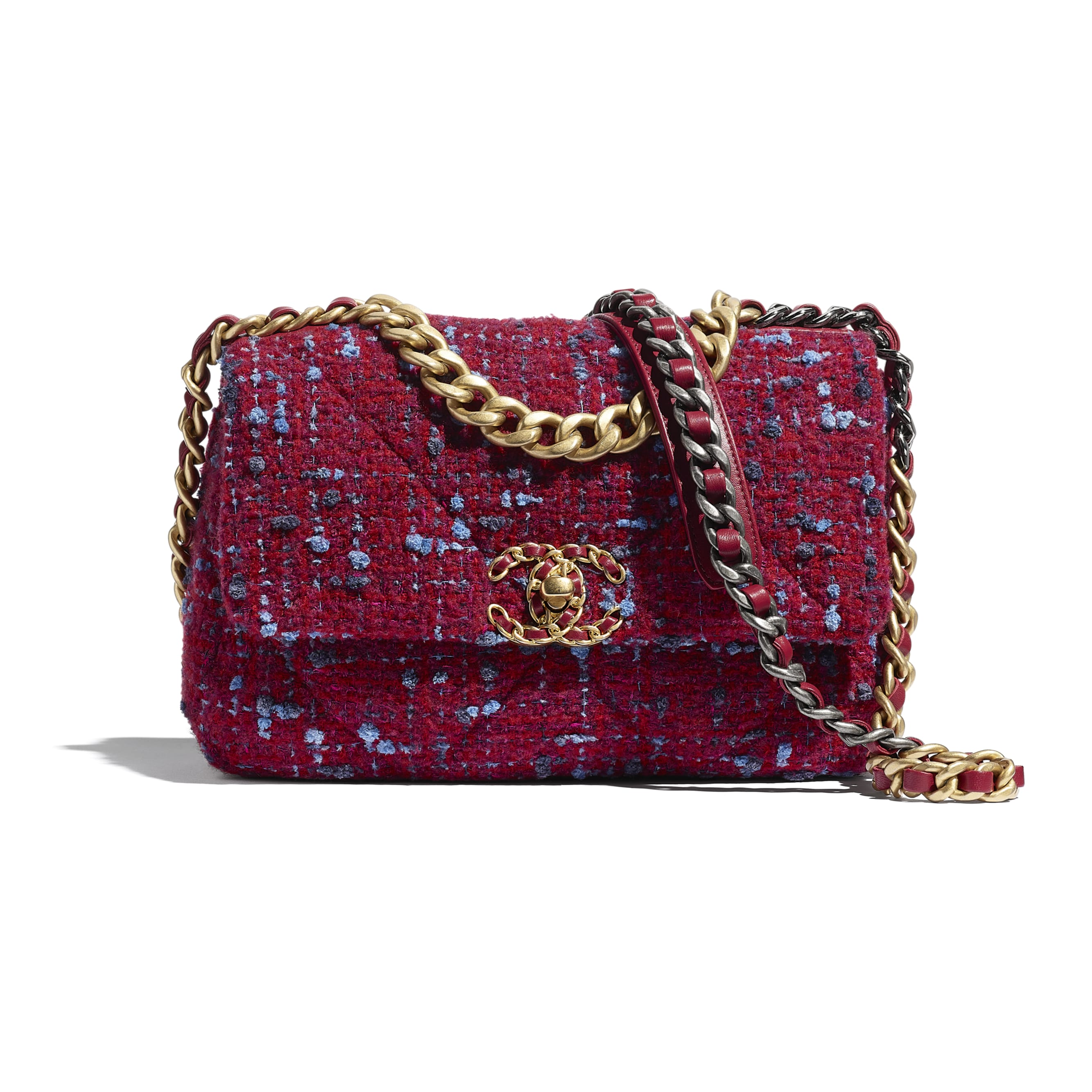 CHANEL 19 Flap Bag - Raspberry Pink - Wool Tweed, Gold-Tone, Silver-Tone & Ruthenium-Finish Metal - CHANEL - Default view - see standard sized version