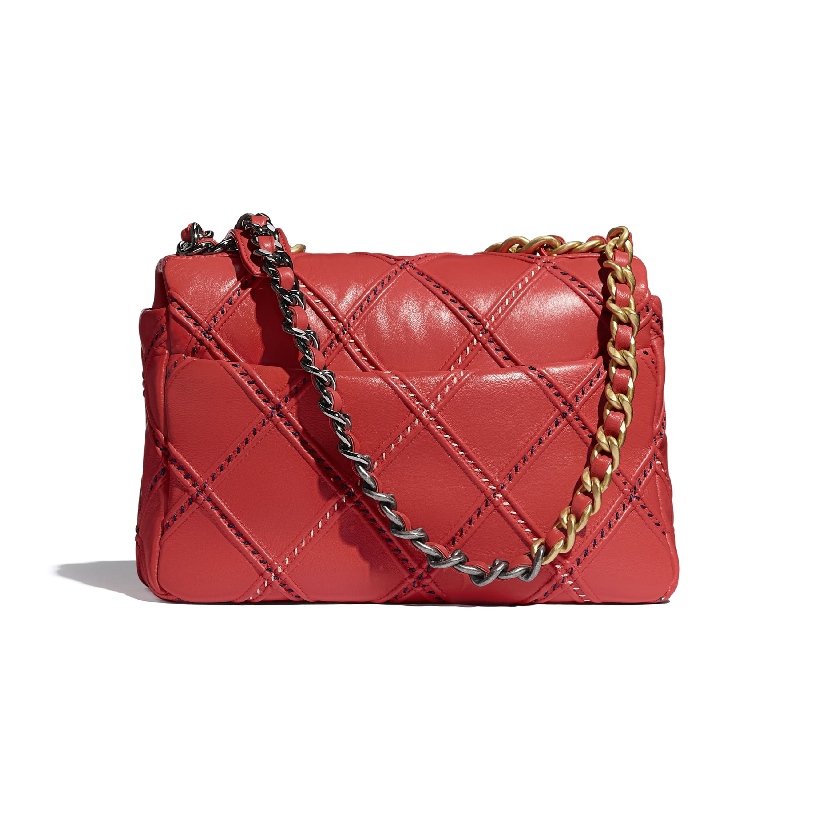 CHANEL 19 Flap Bag - Red - Lambskin, Mixed Fibres, Gold-Tone, Silver-Tone & Ruthenium-Finish Metal - CHANEL - Alternative view - see standard sized version