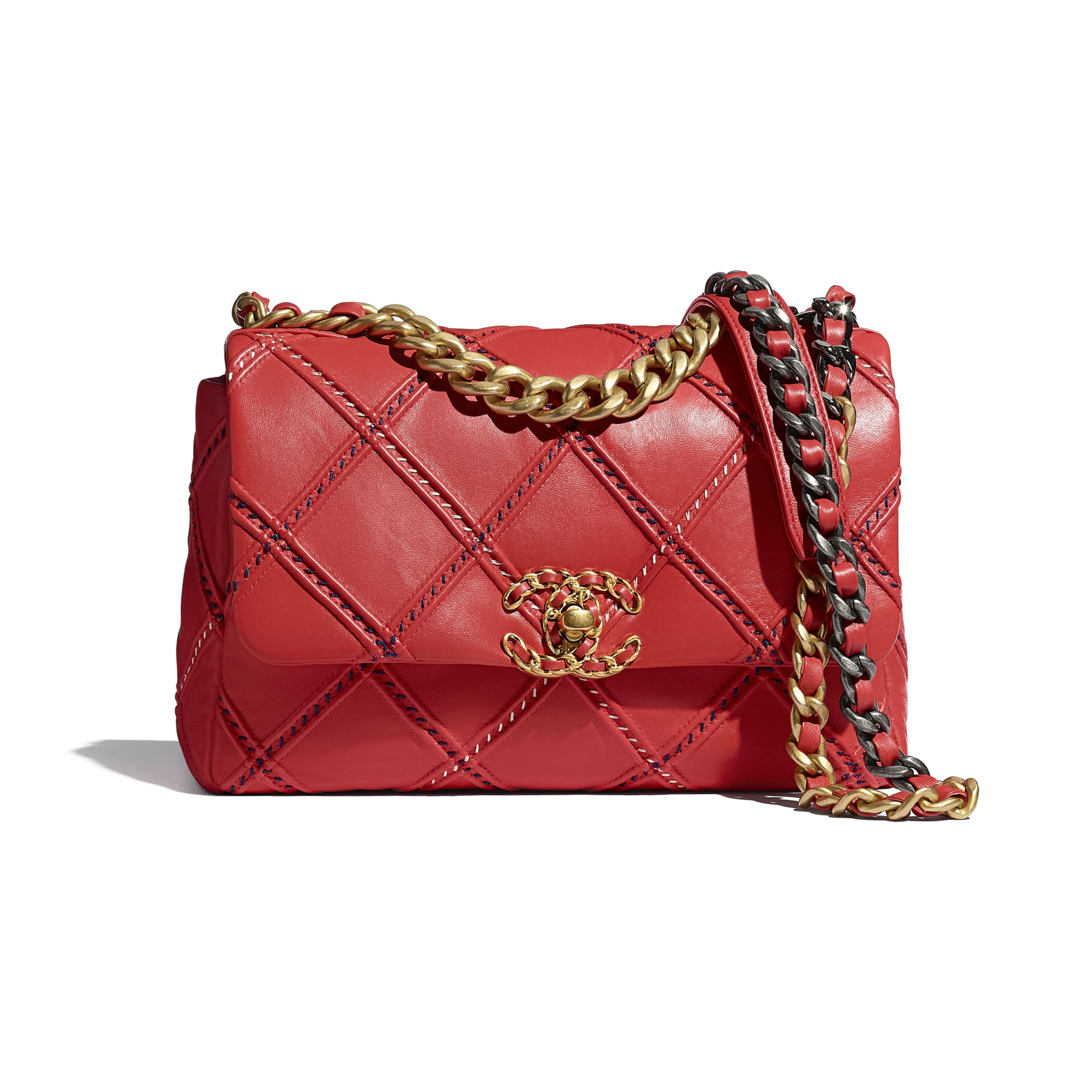 CHANEL 19 Flap Bag - Red - Lambskin, Mixed Fibres, Gold-Tone, Silver-Tone & Ruthenium-Finish Metal - CHANEL - Default view - see standard sized version