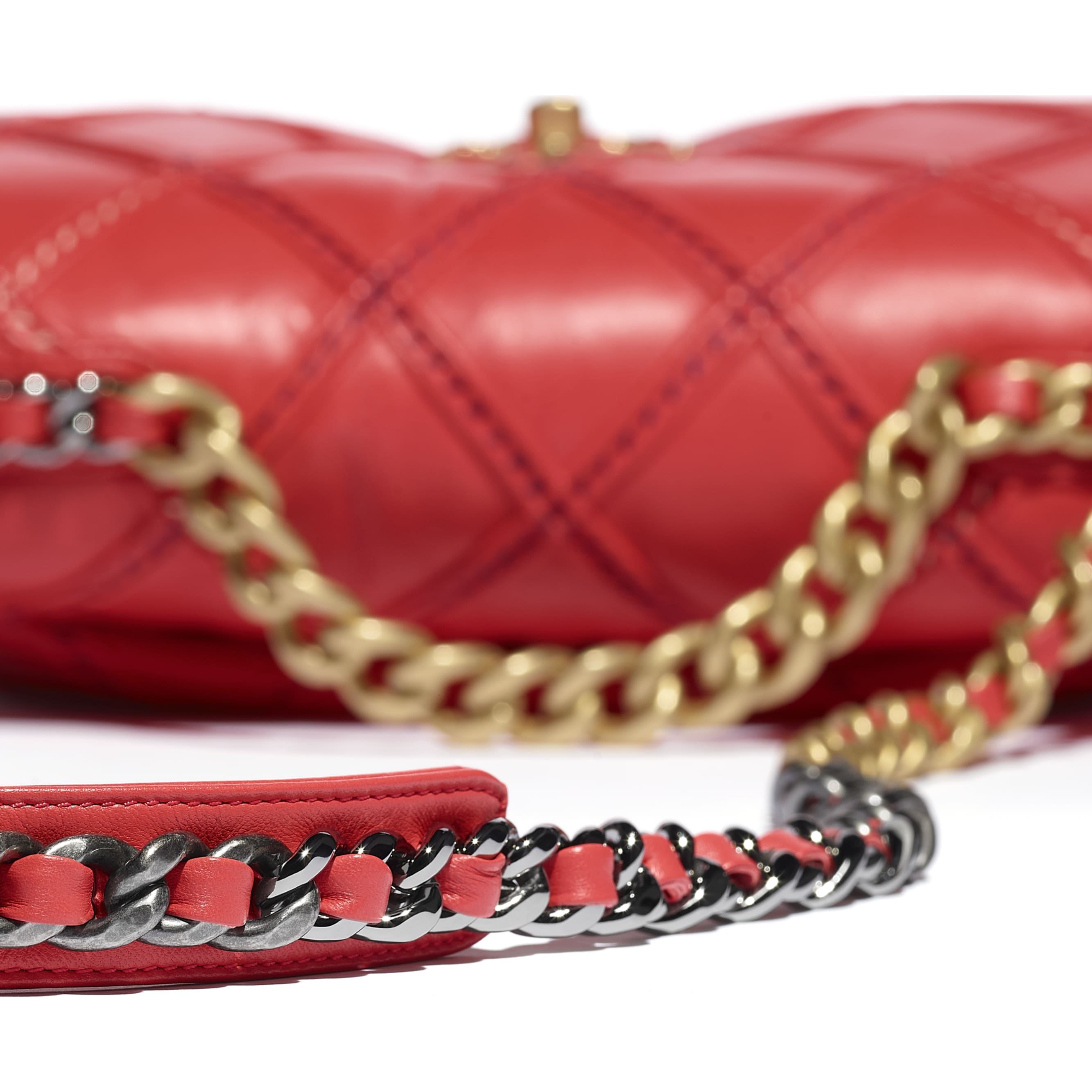 CHANEL 19 Flap Bag - Red - Lambskin, Mixed Fibres, Gold-Tone, Silver-Tone & Ruthenium-Finish Metal - CHANEL - Extra view - see standard sized version
