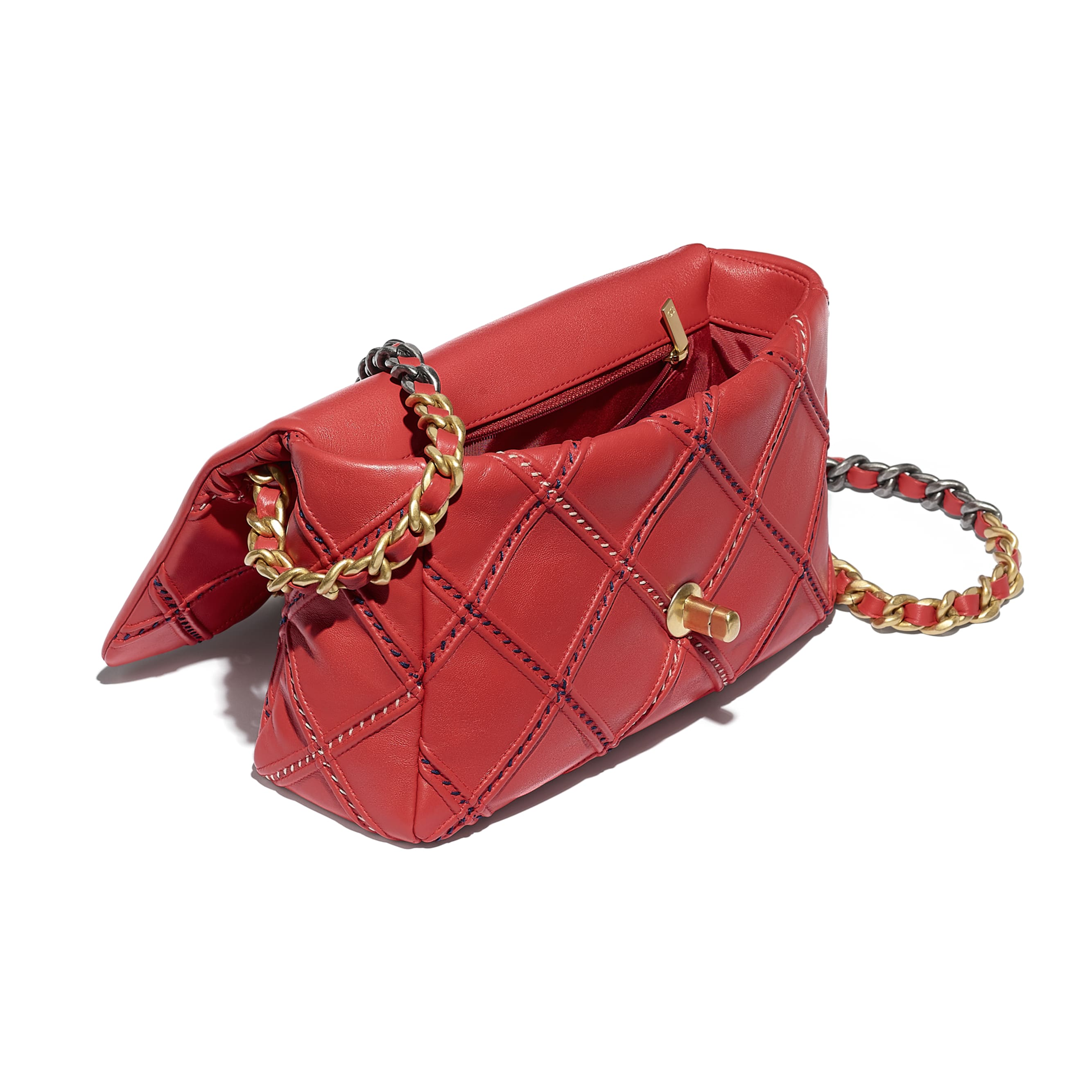 CHANEL 19 Flap Bag - Red - Lambskin, Mixed Fibres, Gold-Tone, Silver-Tone & Ruthenium-Finish Metal - CHANEL - Other view - see standard sized version