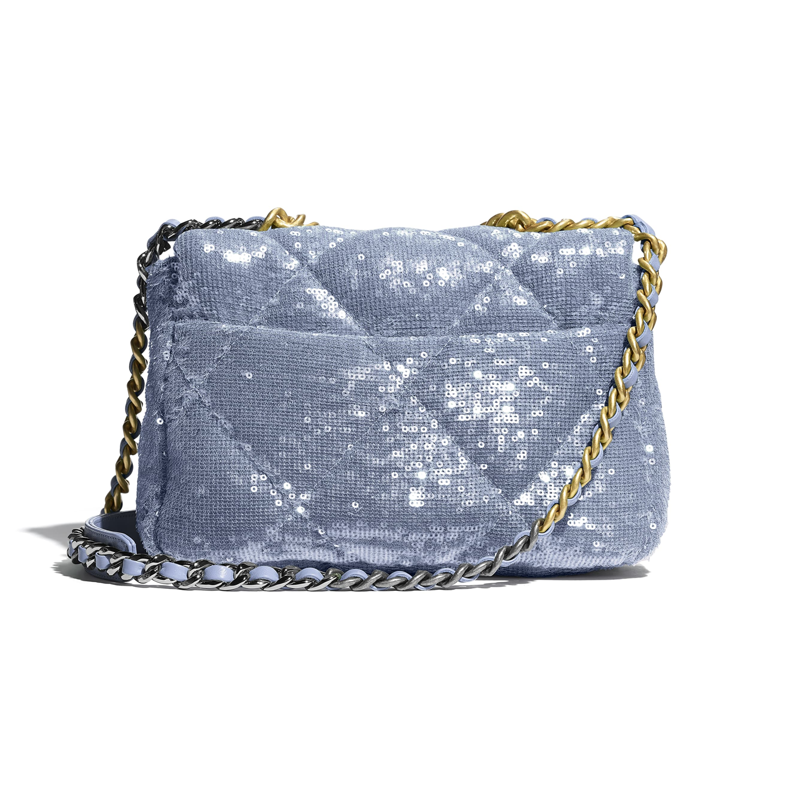 CHANEL 19 Flap Bag - Sky Blue - Sequins, calfksin, silver-tone & gold-tone metal - CHANEL - Alternative view - see standard sized version