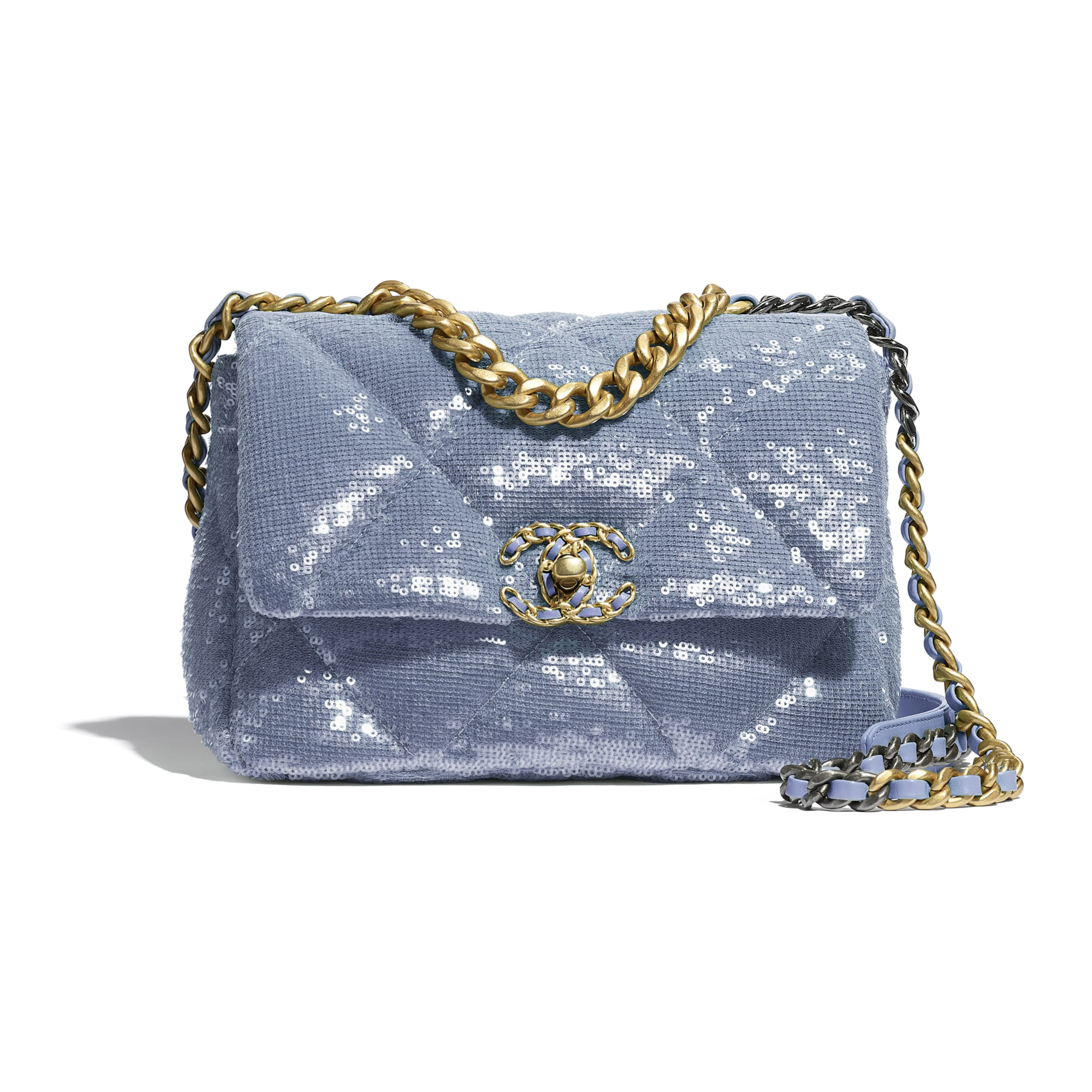 CHANEL 19 Flap Bag - Sky Blue - Sequins, calfksin, silver-tone & gold-tone metal - CHANEL - Default view - see standard sized version