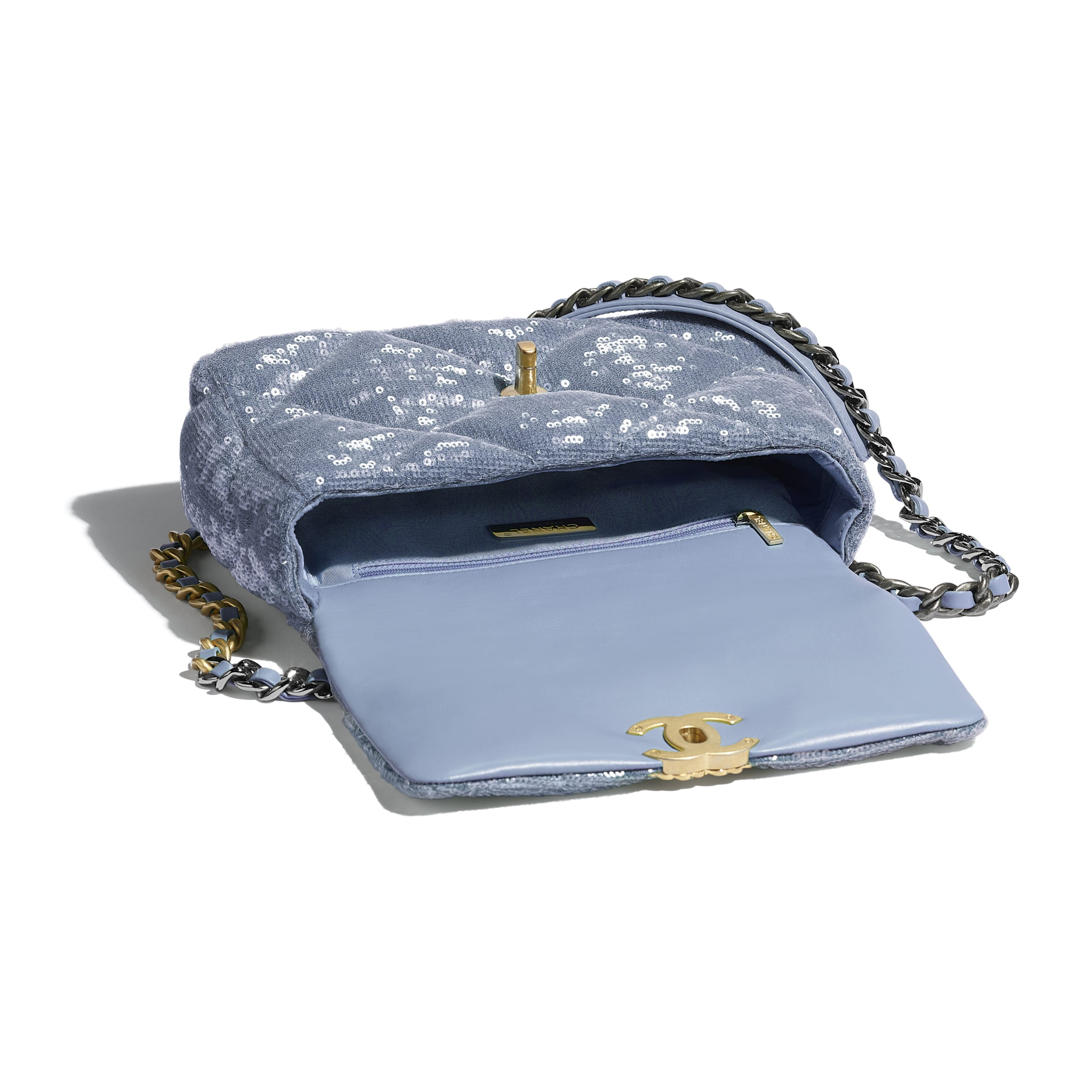 CHANEL 19 Flap Bag - Sky Blue - Sequins, Calfksin, Silver-Tone & Gold-Tone Metal - CHANEL - Other view - see standard sized version