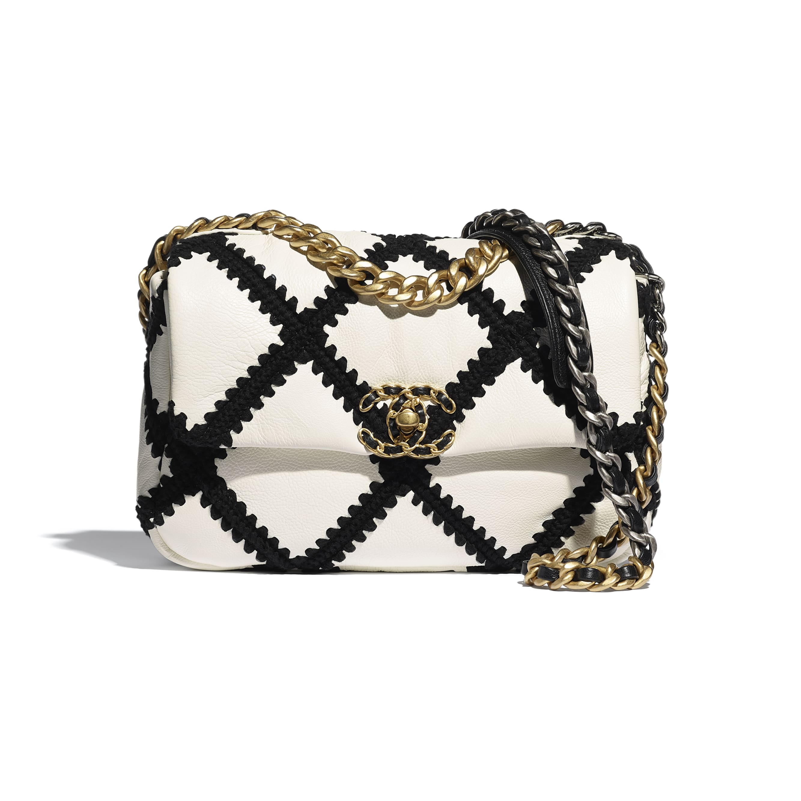CHANEL 19 Flap Bag - White & Black - Calfskin, Crochet, Gold-Tone, Silver-Tone & Ruthenium-Finish Metal - CHANEL - Default view - see standard sized version