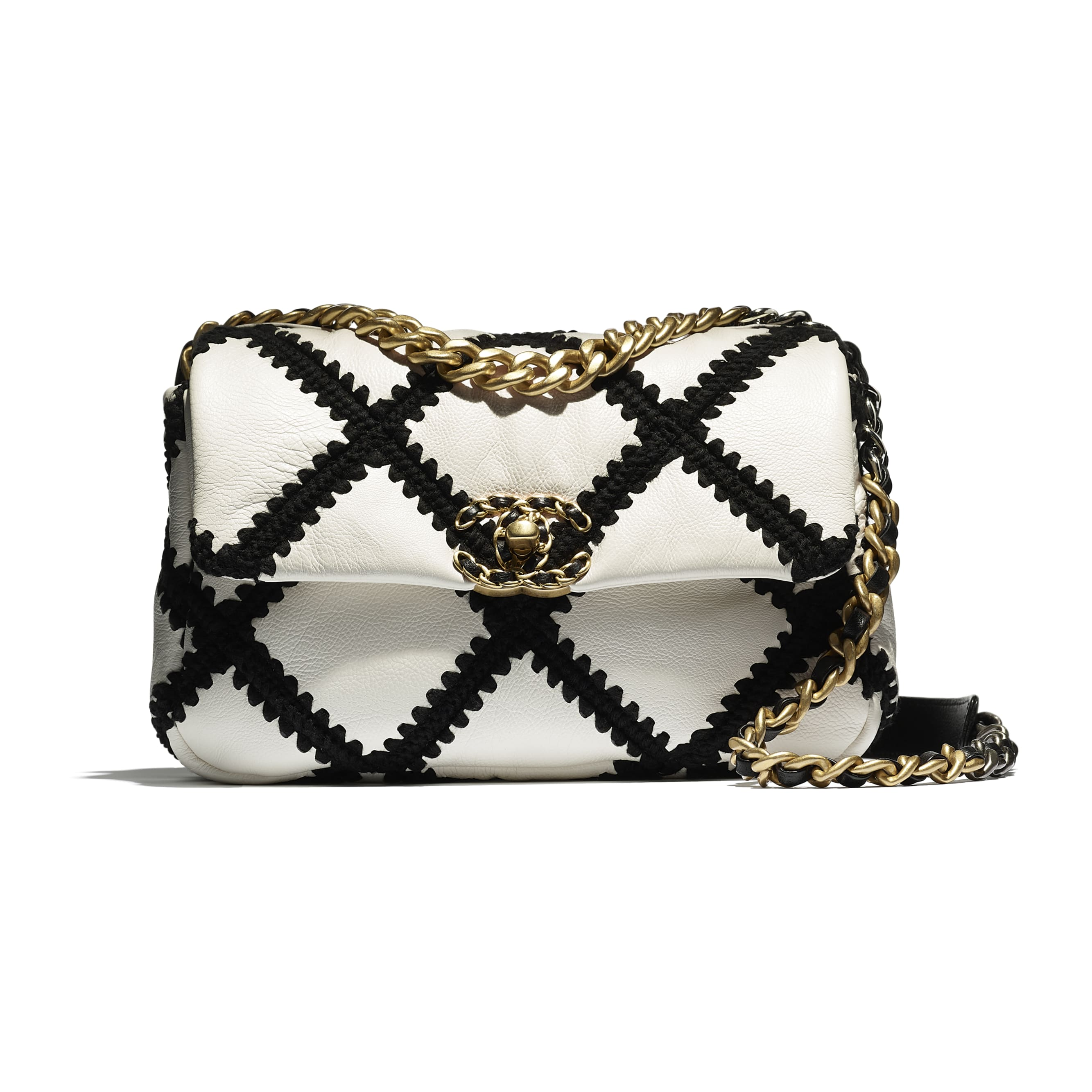 CHANEL 19 Flap Bag - White & Black - Calfskin, Crochet, Gold-Tone, Silver-Tone & Ruthenium-Finish Metal - CHANEL - Extra view - see standard sized version