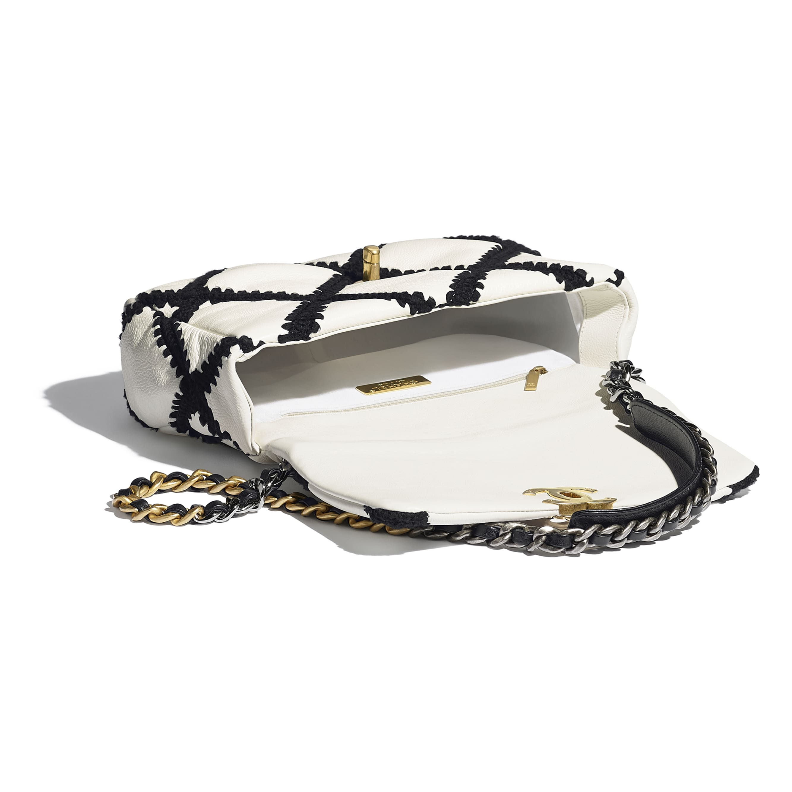 CHANEL 19 Flap Bag - White & Black - Calfskin, Crochet, Gold-Tone, Silver-Tone & Ruthenium-Finish Metal - CHANEL - Other view - see standard sized version