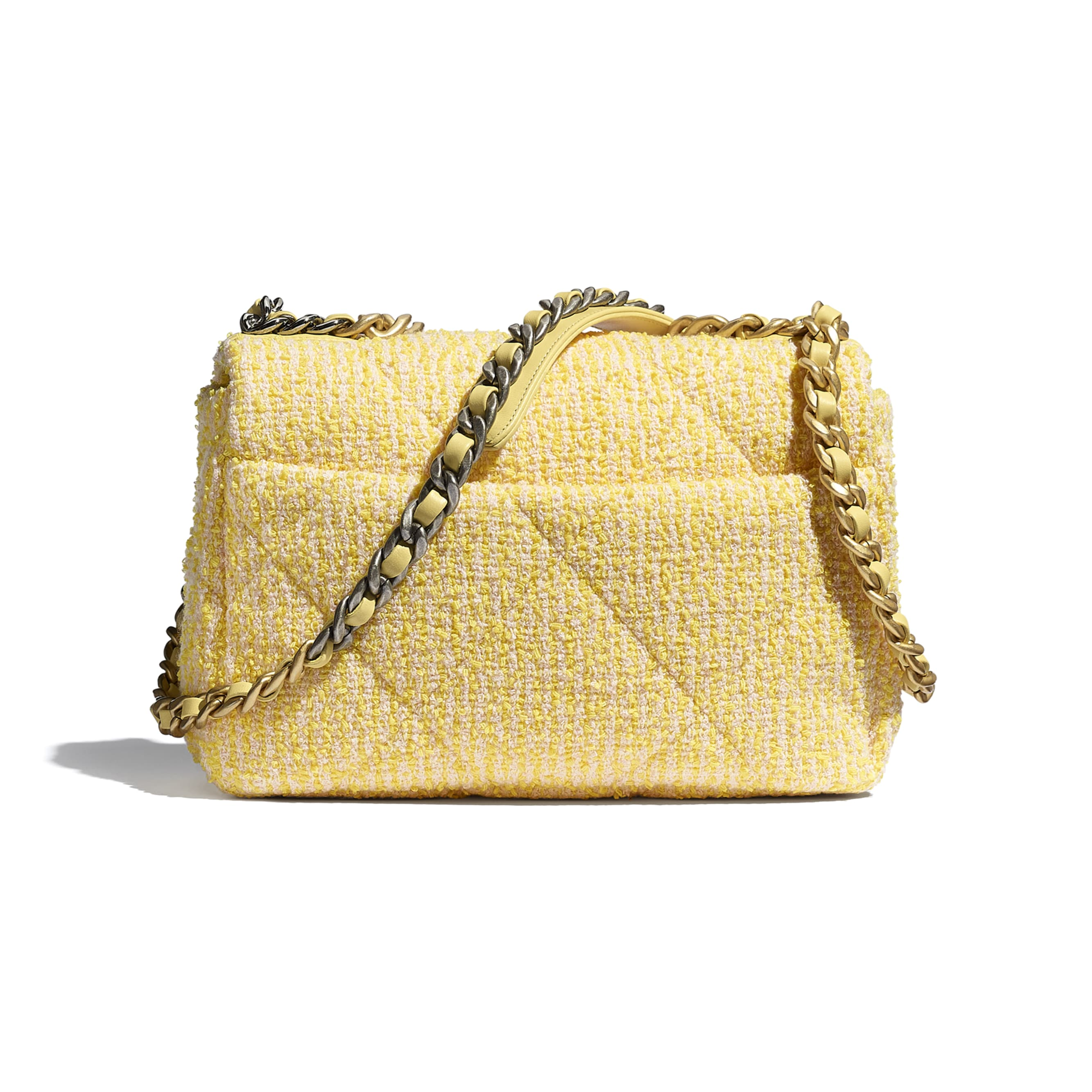 CHANEL 19 Flap Bag - Yellow & Pink - Tweed, Gold-Tone, Silver-Tone & Ruthenium-Finish Metal - CHANEL - Alternative view - see standard sized version