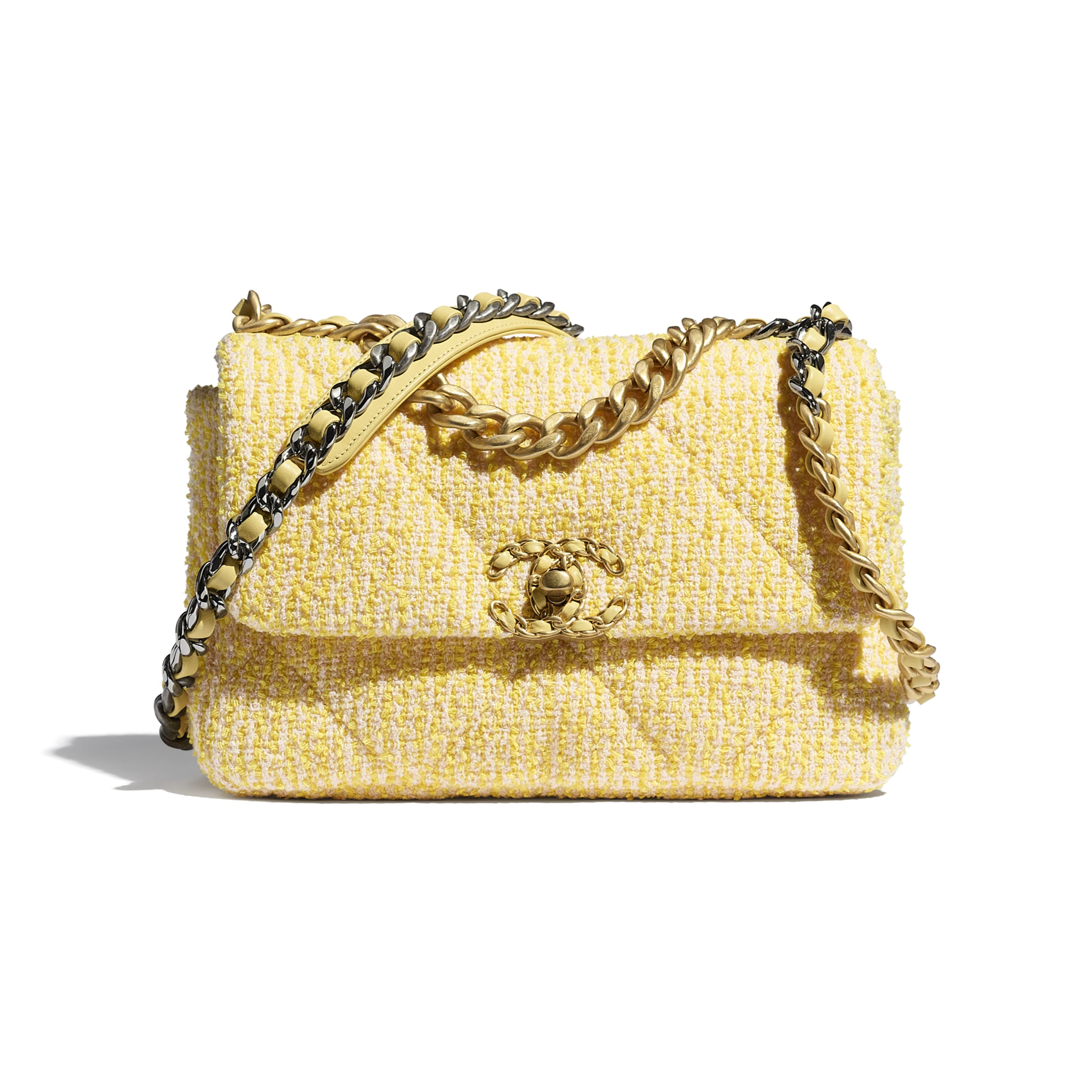 CHANEL 19 Flap Bag - Yellow & Pink - Tweed, Gold-Tone, Silver-Tone & Ruthenium-Finish Metal - CHANEL - Default view - see standard sized version