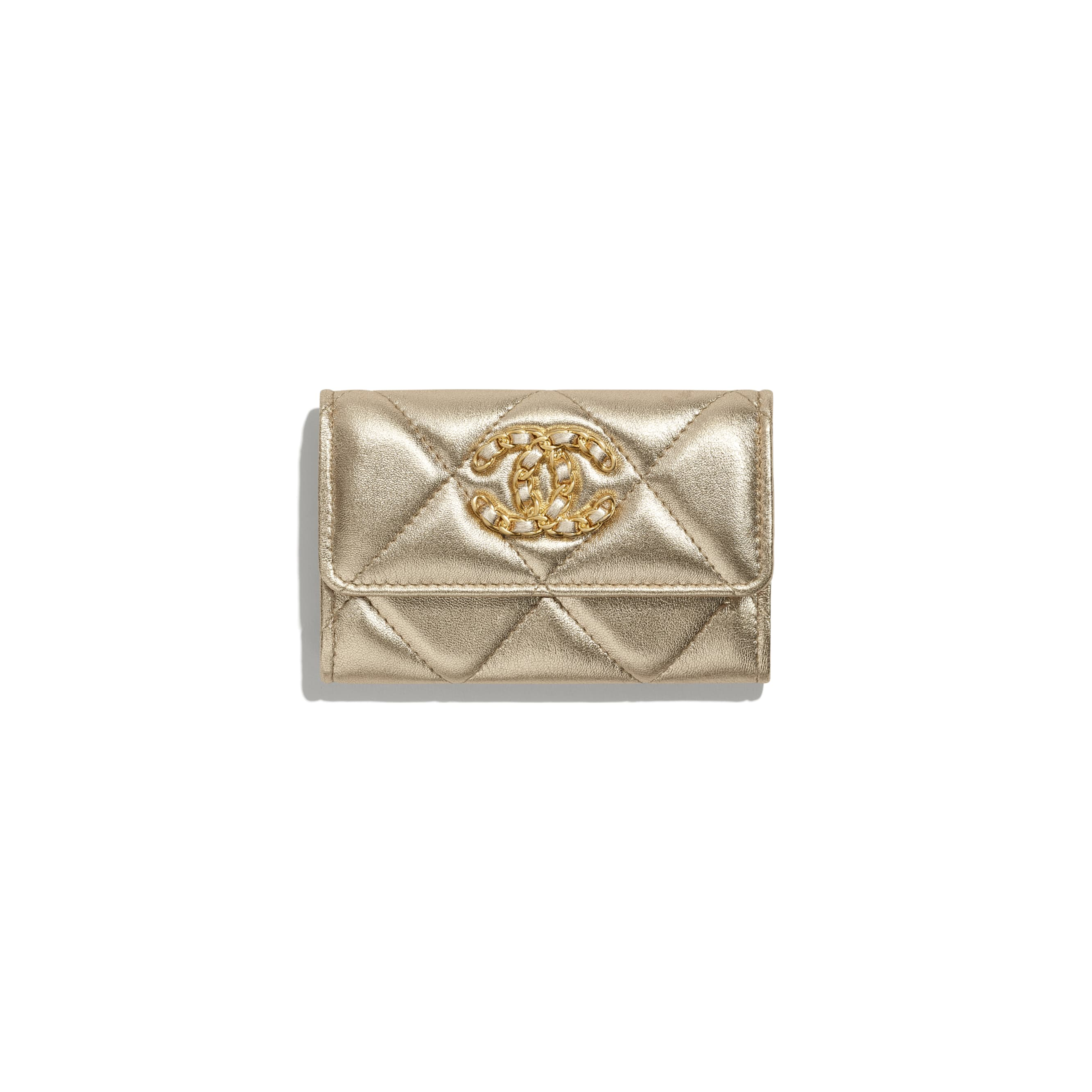 CHANEL 19 Flap Card Holder - Gold - Metallic Lambskin, Gold-Tone, Silver-Tone & Ruthenium-Finish Metal - CHANEL - Default view - see standard sized version