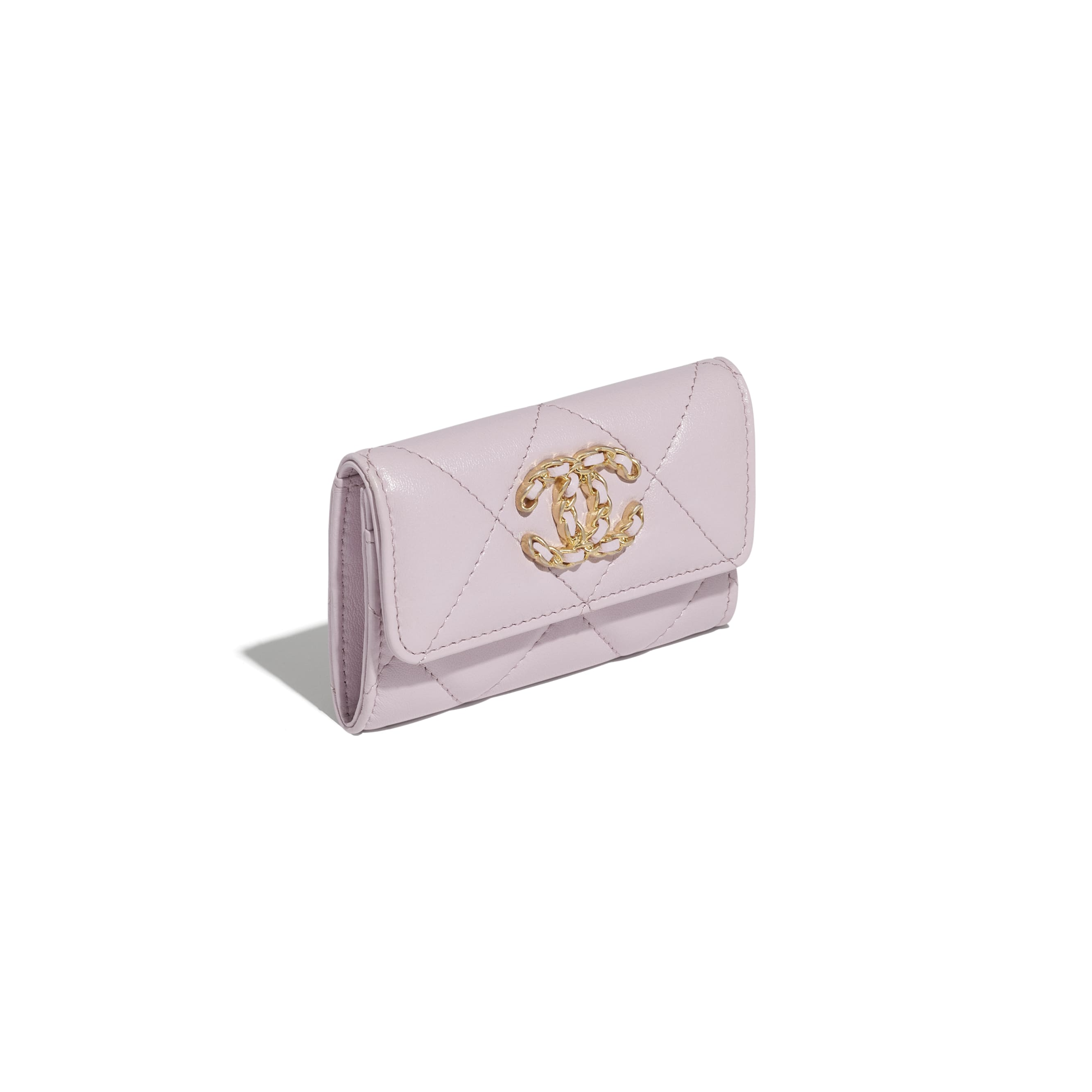 CHANEL 19 Flap Card Holder - Light Pink - Lambskin, Gold-Tone, Silver-Tone & Ruthenium-Finish Metal - CHANEL - Extra view - see standard sized version