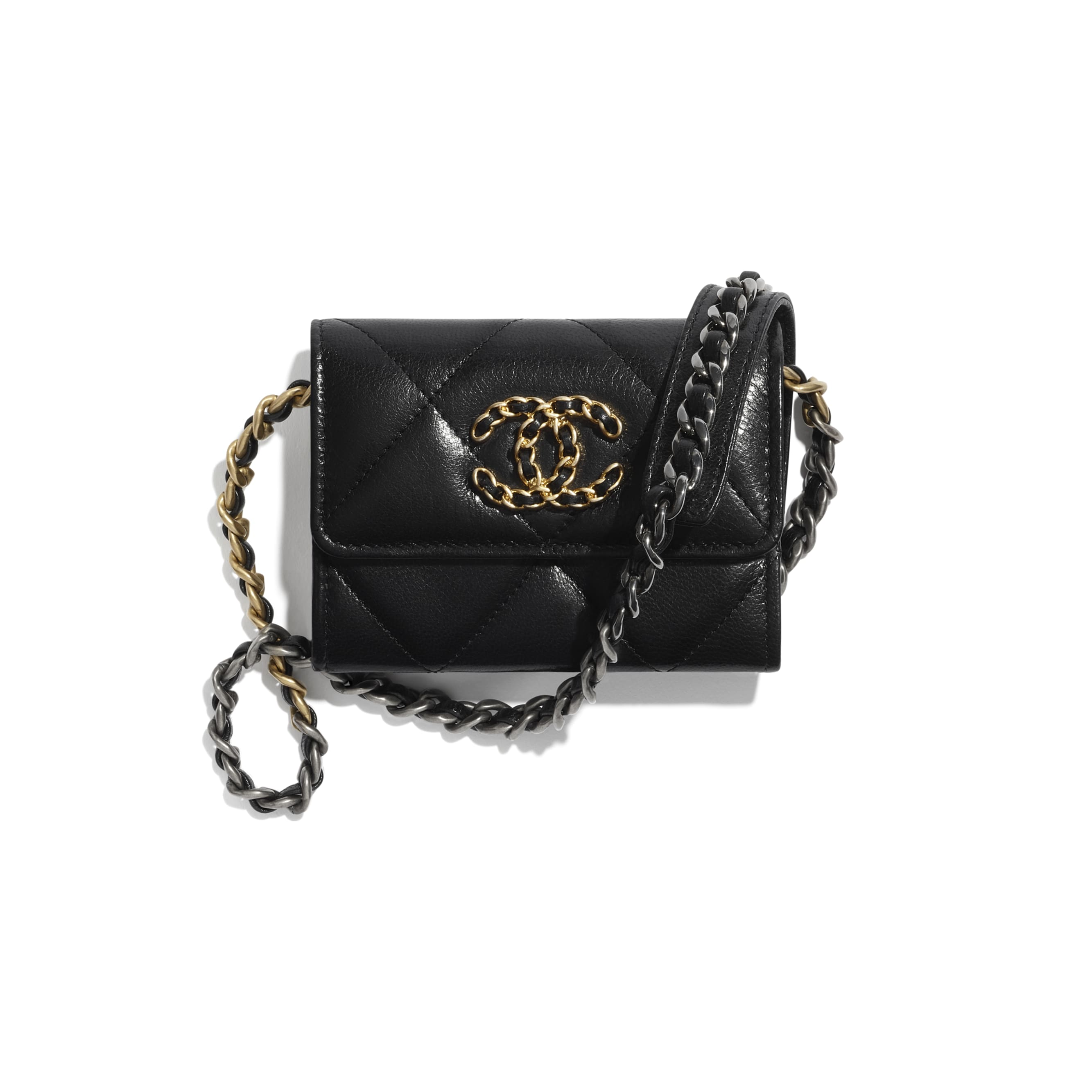 CHANEL 19 Flap Coin Purse with Chain - Black - Shiny Goatskin, Gold-Tone, Silver-Tone & Ruthenium-Finish Metal - CHANEL - Default view - see standard sized version