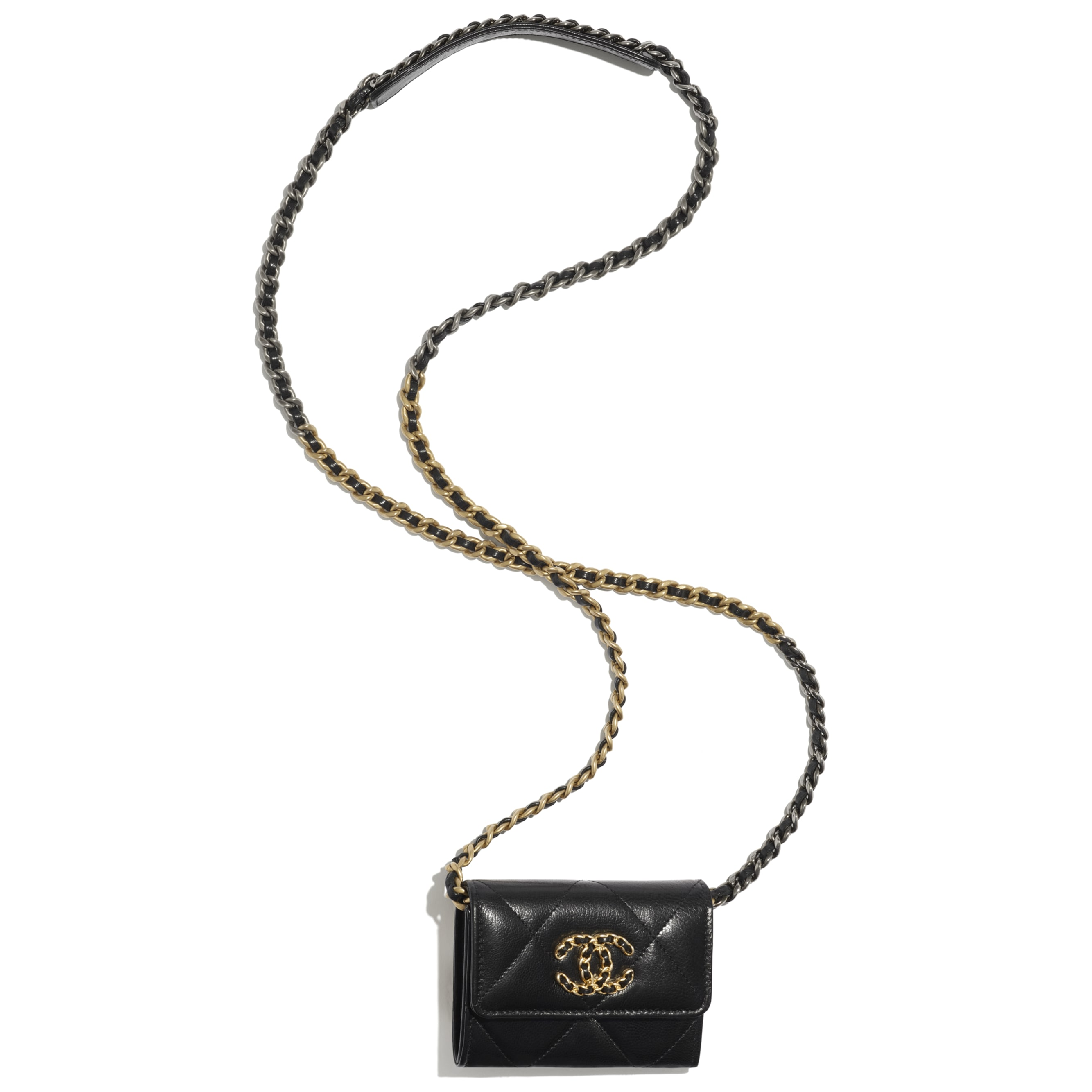 CHANEL 19 Flap Coin Purse with Chain - Black - Shiny Goatskin, Gold-Tone, Silver-Tone & Ruthenium-Finish Metal - CHANEL - Other view - see standard sized version