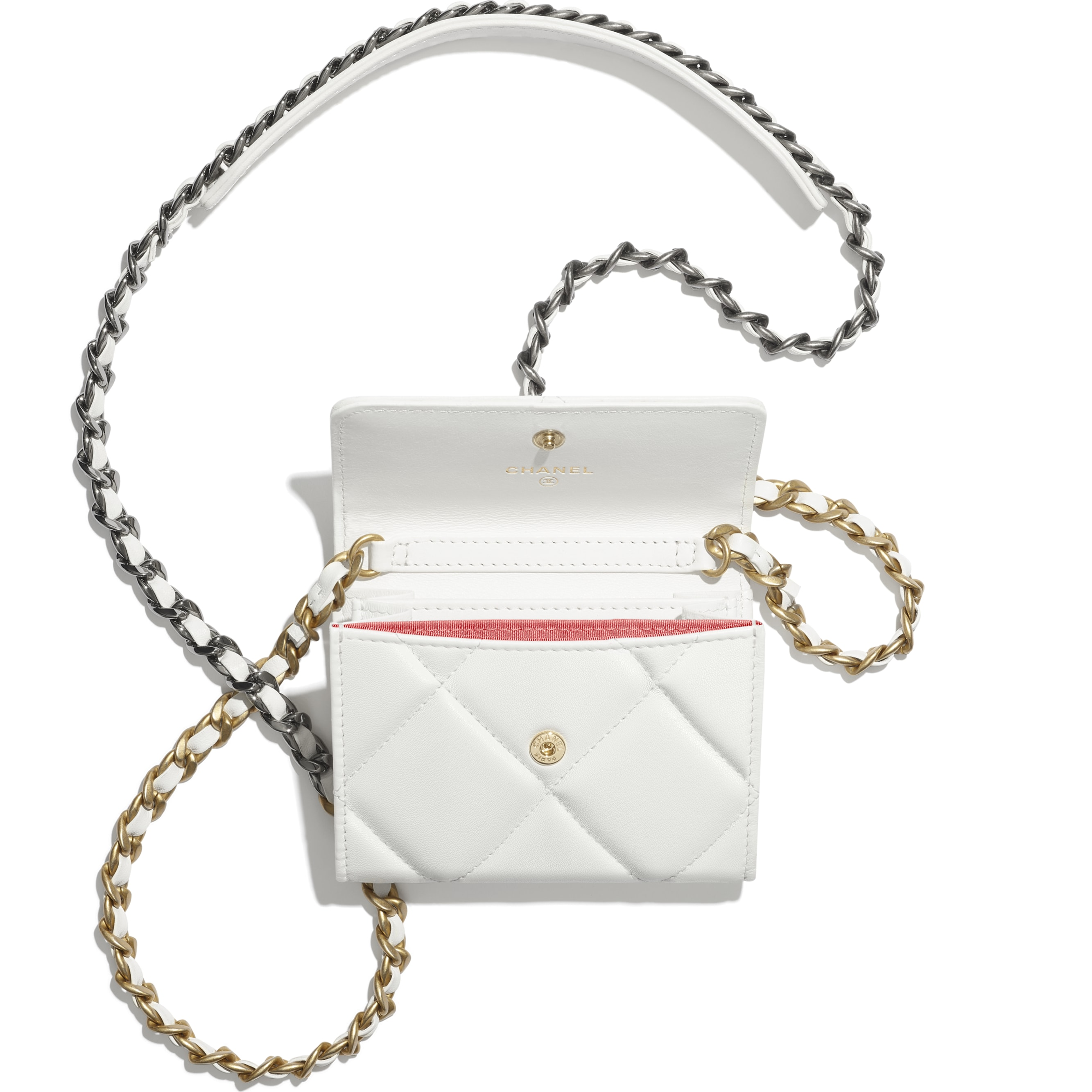 CHANEL 19 Flap Coin Purse with Chain - White - Lambskin, Gold-Tone, Silver-Tone & Ruthenium-Finish Metal - CHANEL - Alternative view - see standard sized version