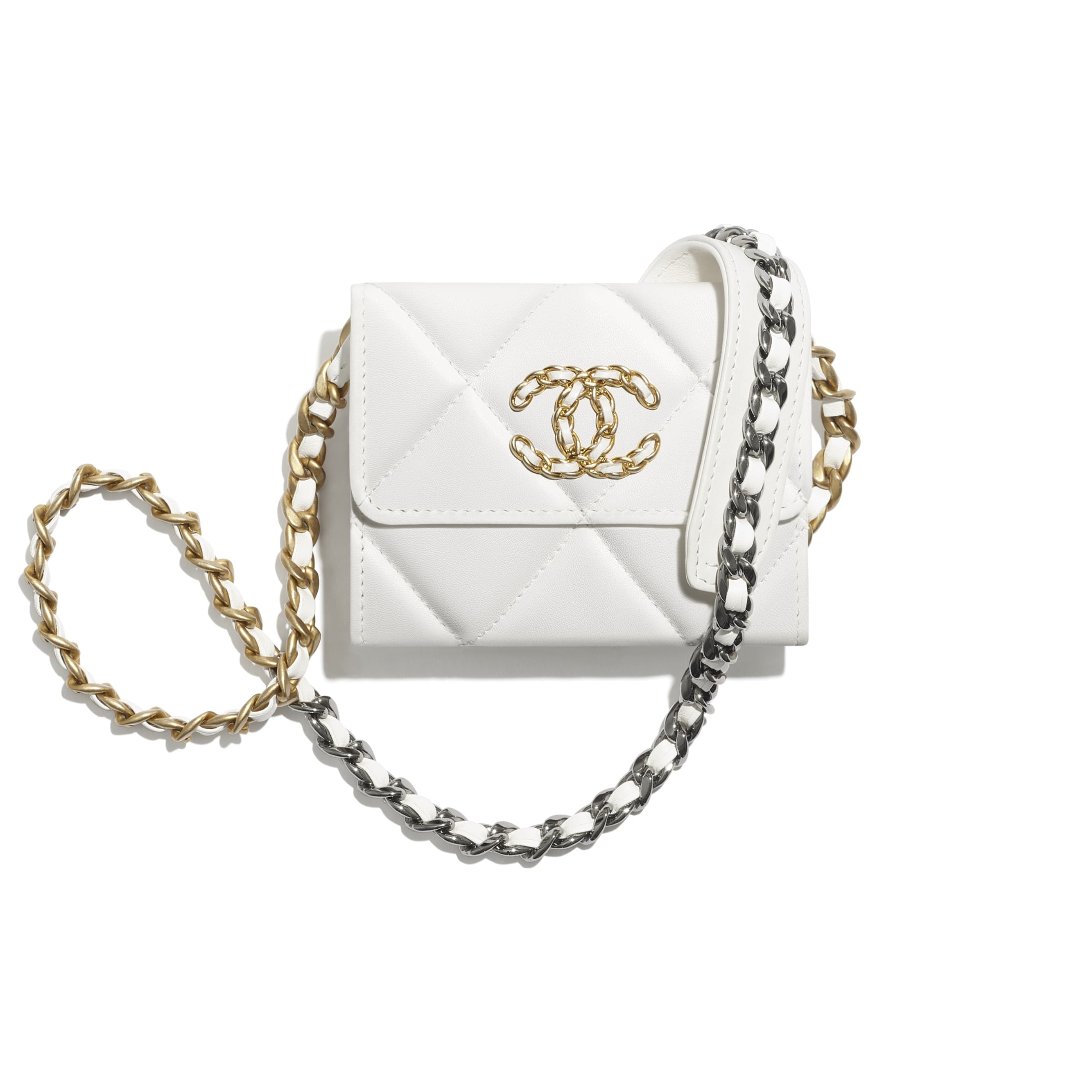 CHANEL 19 Flap Coin Purse with Chain - White - Lambskin, Gold-Tone, Silver-Tone & Ruthenium-Finish Metal - CHANEL - Default view - see standard sized version