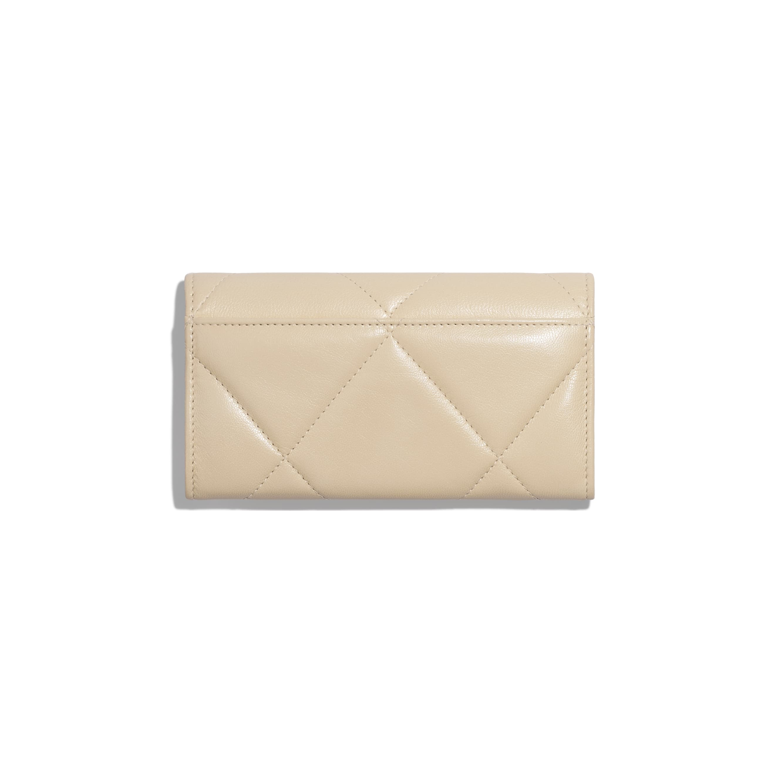 CHANEL 19 Flap Wallet - Beige - Goatskin, Gold-Tone, Silver-Tone & Ruthenium-Finish Metal - Alternative view - see standard sized version
