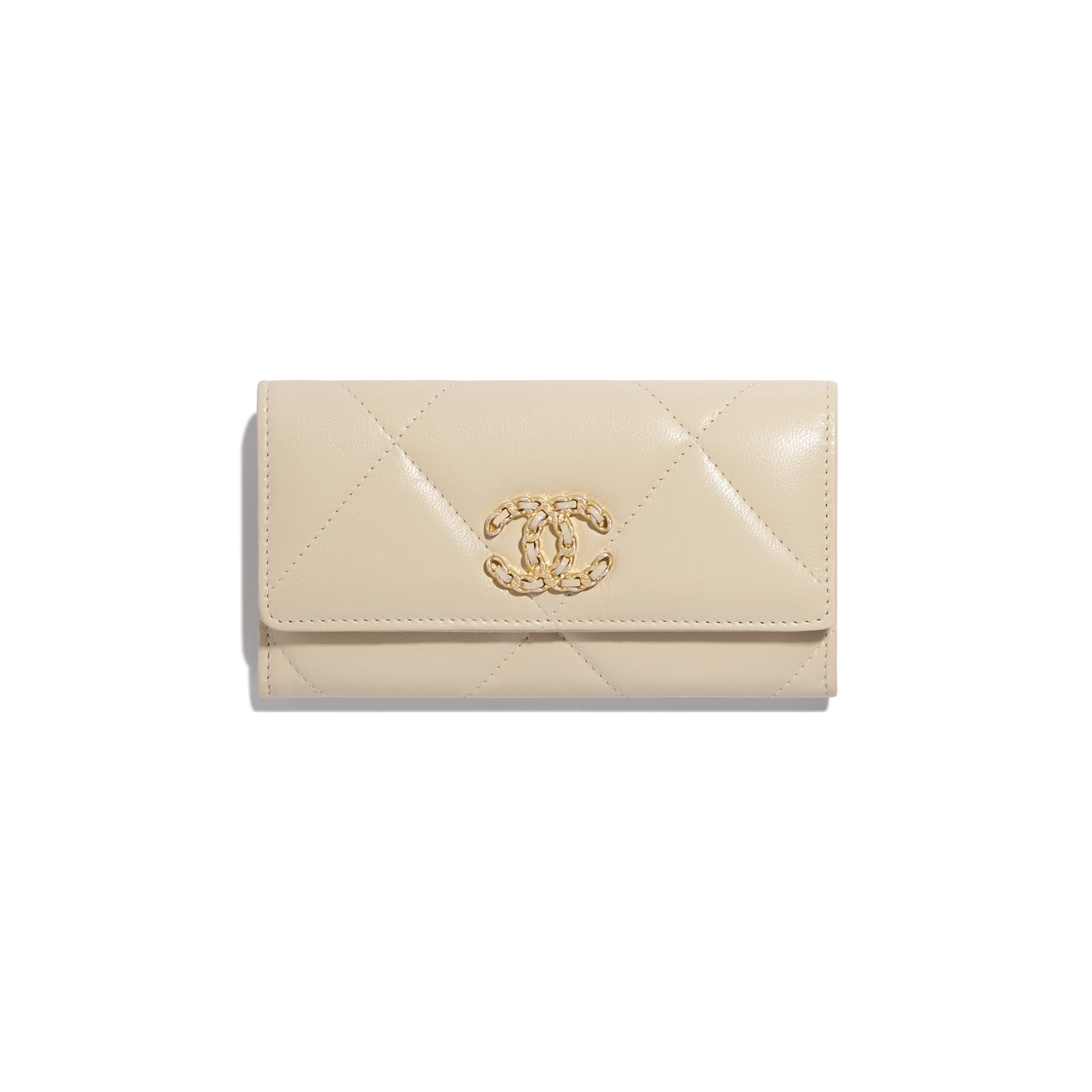 CHANEL 19 Flap Wallet - Beige - Goatskin, Gold-Tone, Silver-Tone & Ruthenium-Finish Metal - Default view - see standard sized version