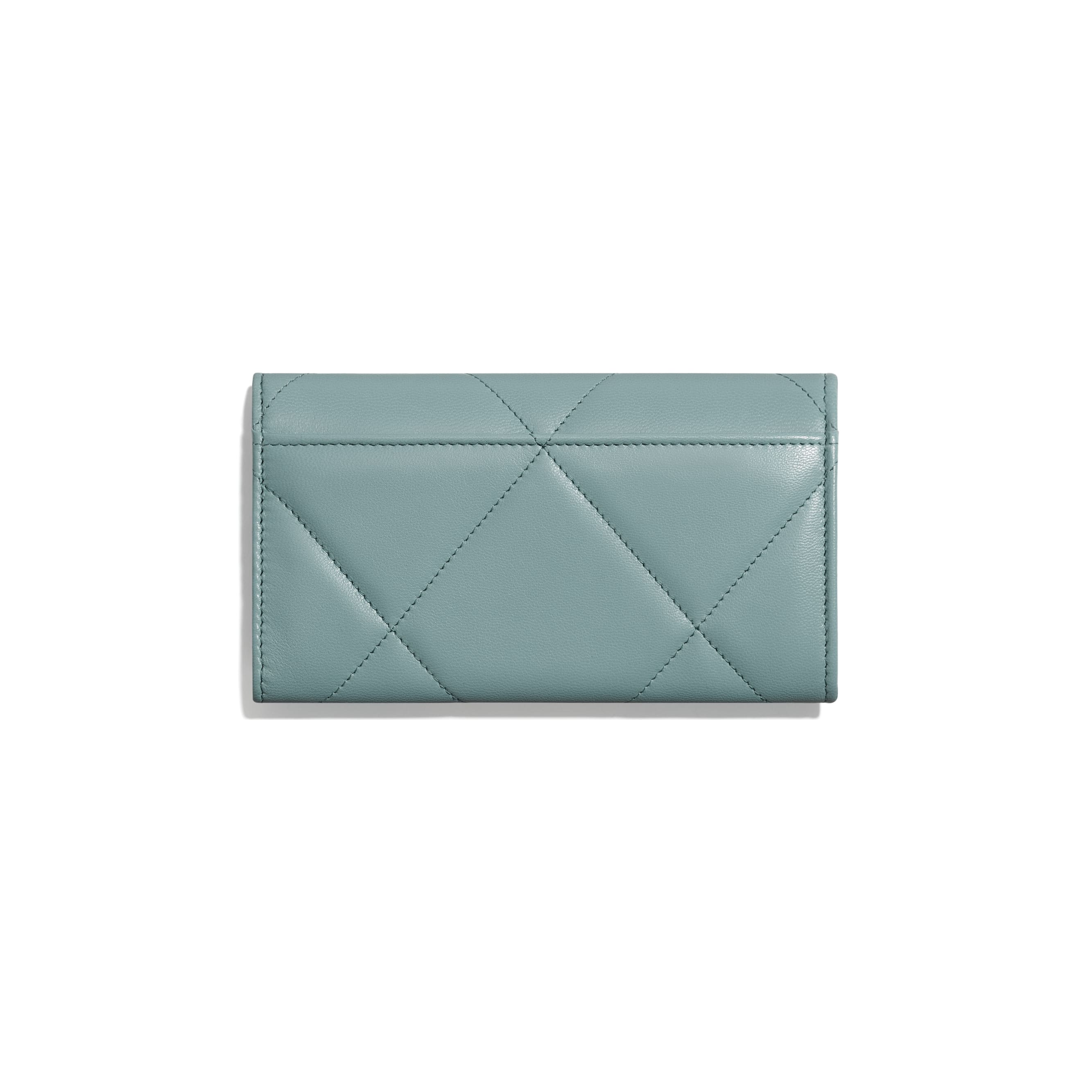CHANEL 19 Flap Wallet - Blue - Shiny Goatskin, Gold-Tone, Silver-Tone & Ruthenium-Finish Metal - Alternative view - see standard sized version