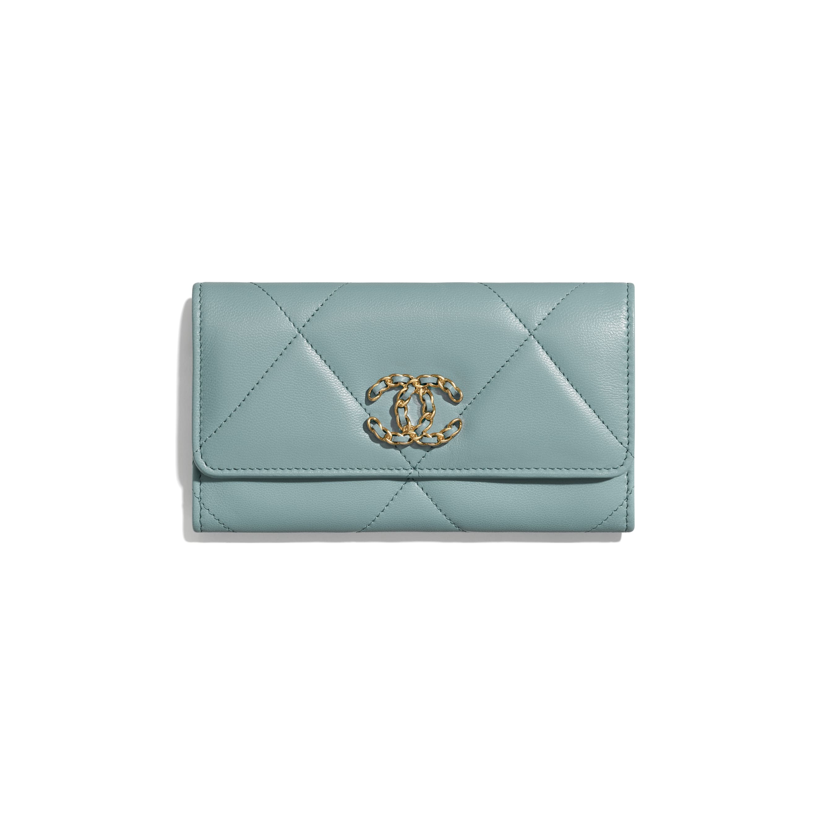 CHANEL 19 Flap Wallet - Blue - Shiny Goatskin, Gold-Tone, Silver-Tone & Ruthenium-Finish Metal - CHANEL - Default view - see standard sized version
