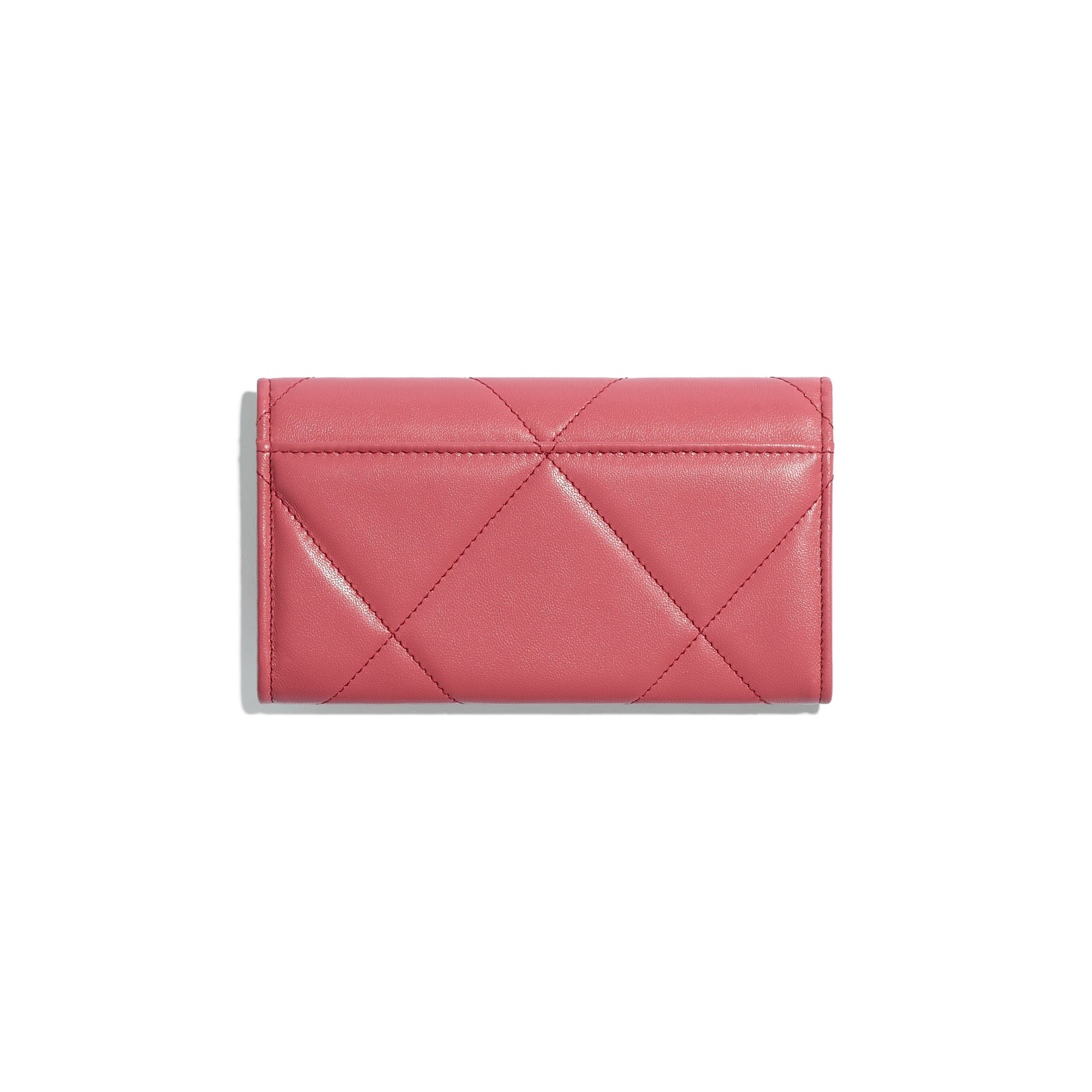 CHANEL 19 Flap Wallet - Pink - Lambskin, Gold-Tone, Silver-Tone & Ruthenium-Finish Metal - Alternative view - see standard sized version