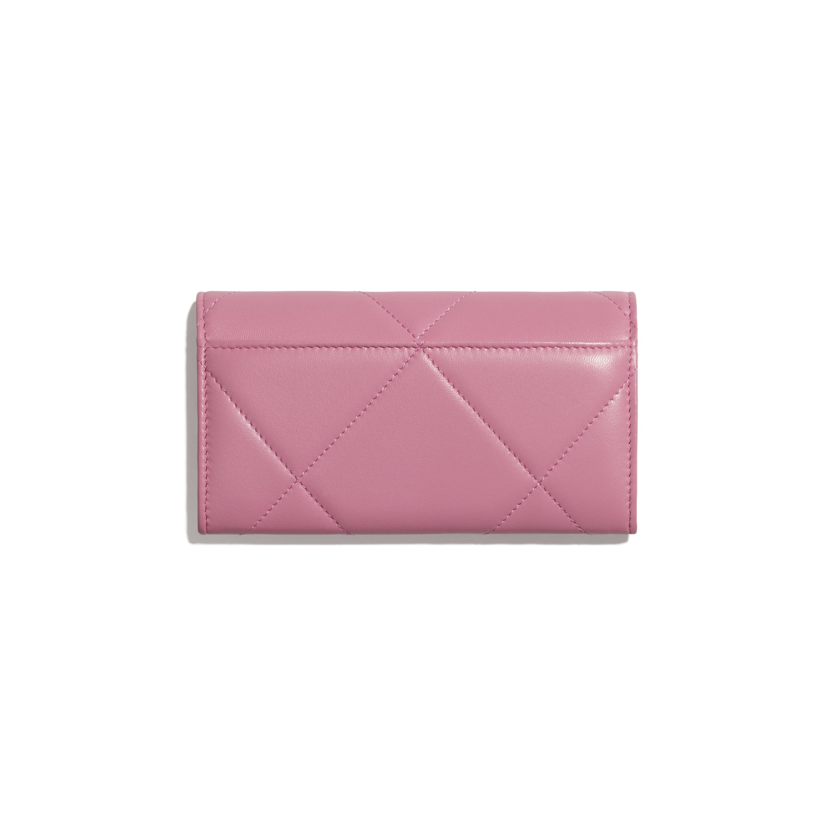 CHANEL 19 Flap Wallet - Pink - Lambskin, Gold-Tone, Silver-Tone & Ruthenium-Finish Metal - CHANEL - Alternative view - see standard sized version