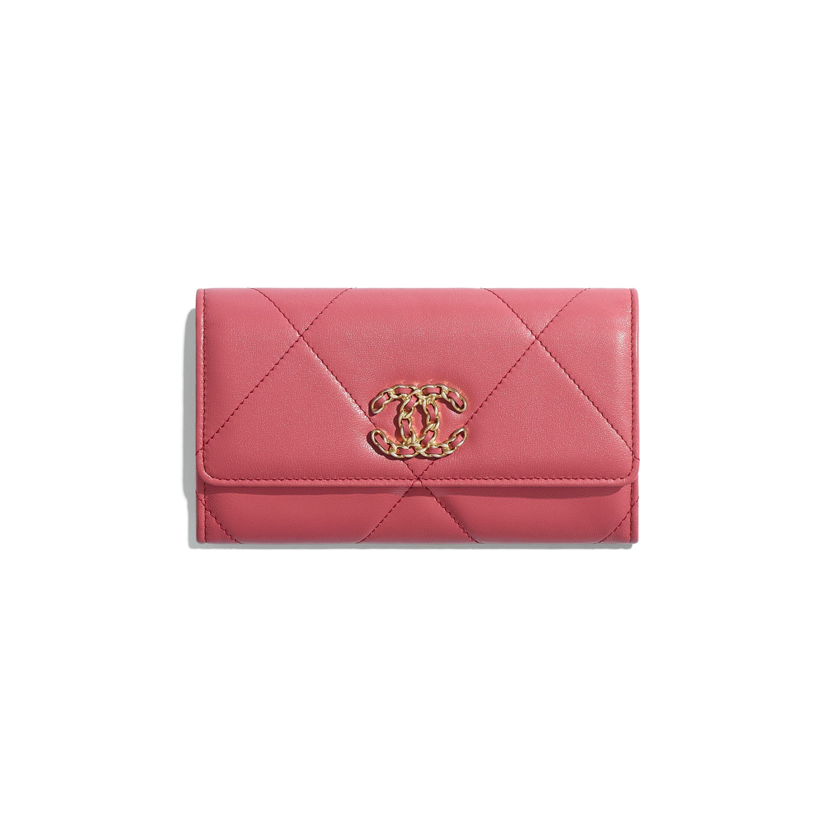 CHANEL 19 Flap Wallet - Pink - Lambskin, Gold-Tone, Silver-Tone & Ruthenium-Finish Metal - Default view - see standard sized version
