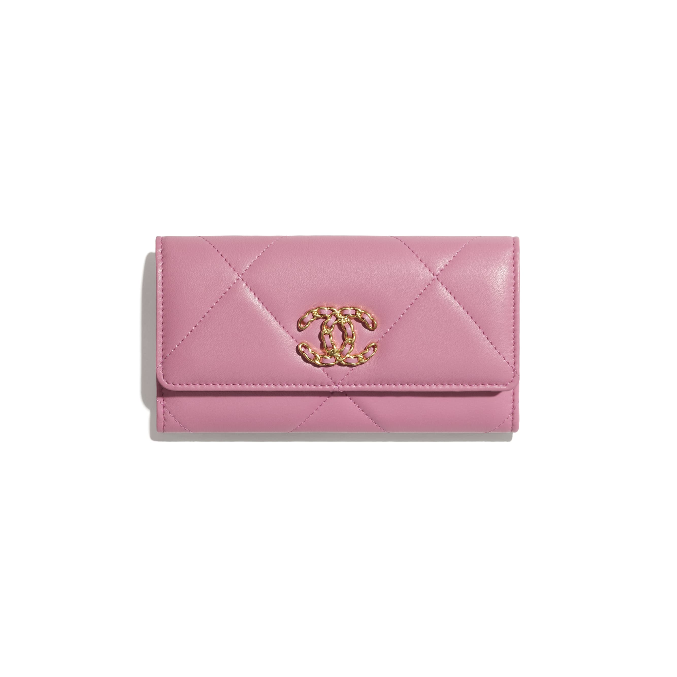 CHANEL 19 Flap Wallet - Pink - Lambskin, Gold-Tone, Silver-Tone & Ruthenium-Finish Metal - CHANEL - Default view - see standard sized version