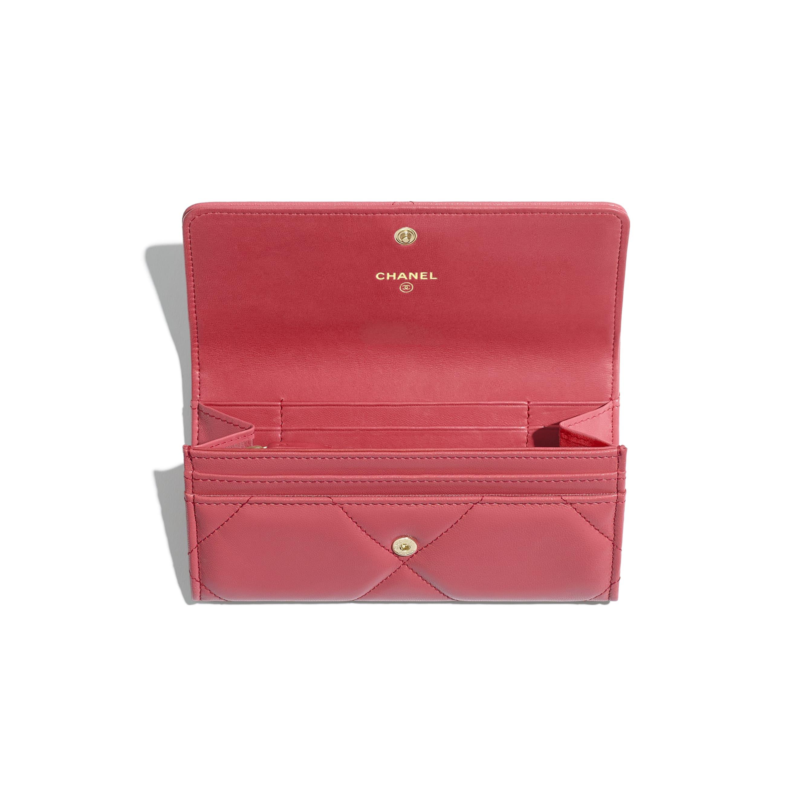 CHANEL 19 Flap Wallet - Pink - Lambskin, Gold-Tone, Silver-Tone & Ruthenium-Finish Metal - Other view - see standard sized version