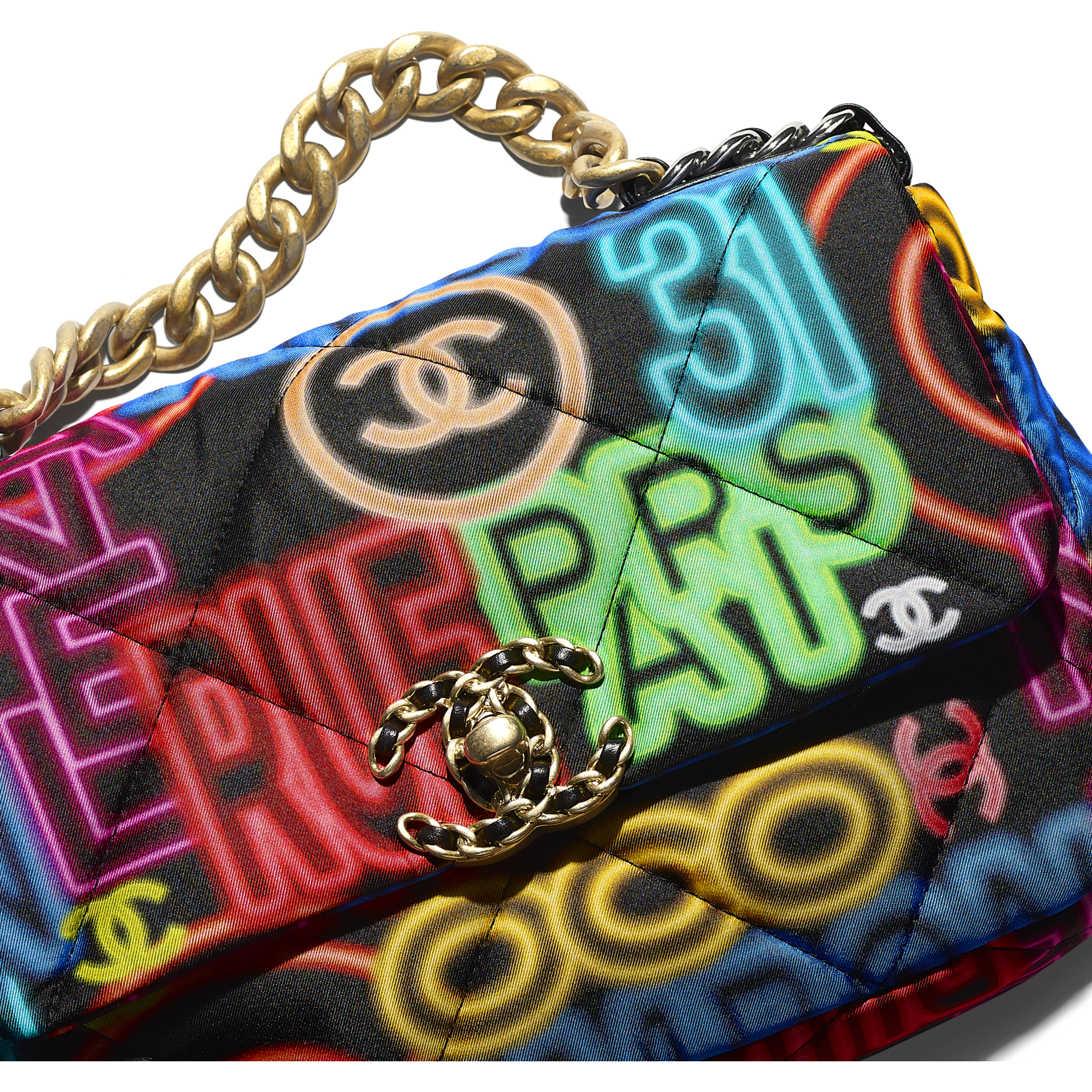 CHANEL 19 Handbag - Black & Multicolour - Printed Fabric, Gold-Tone, Silver-Tone & Ruthenium-Finish Metal - CHANEL - Extra view - see standard sized version