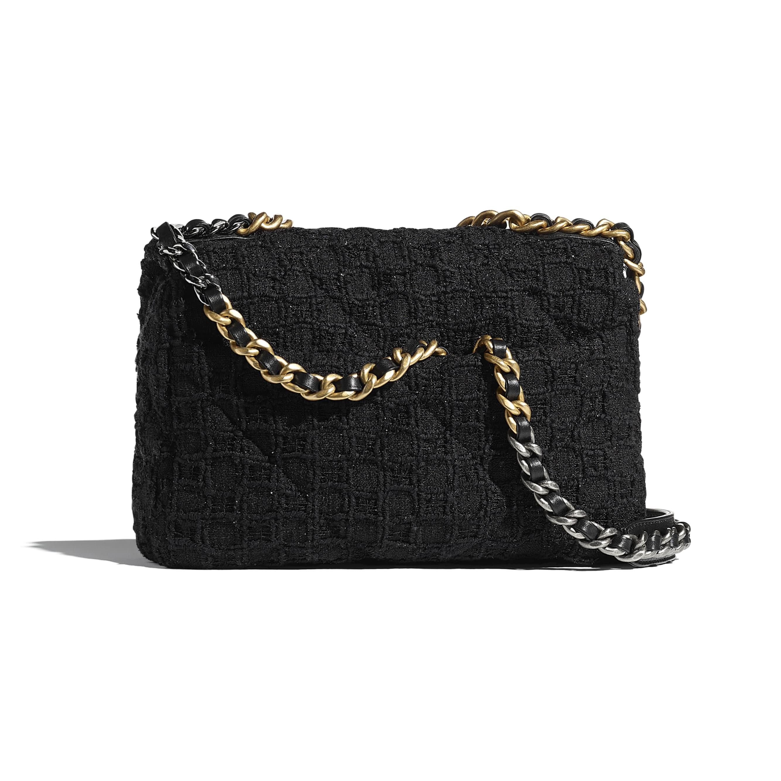 CHANEL 19 Handbag - Black - Tweed, Gold-Tone, Silver-Tone & Ruthenium-Finish Metal - CHANEL - Alternative view - see standard sized version