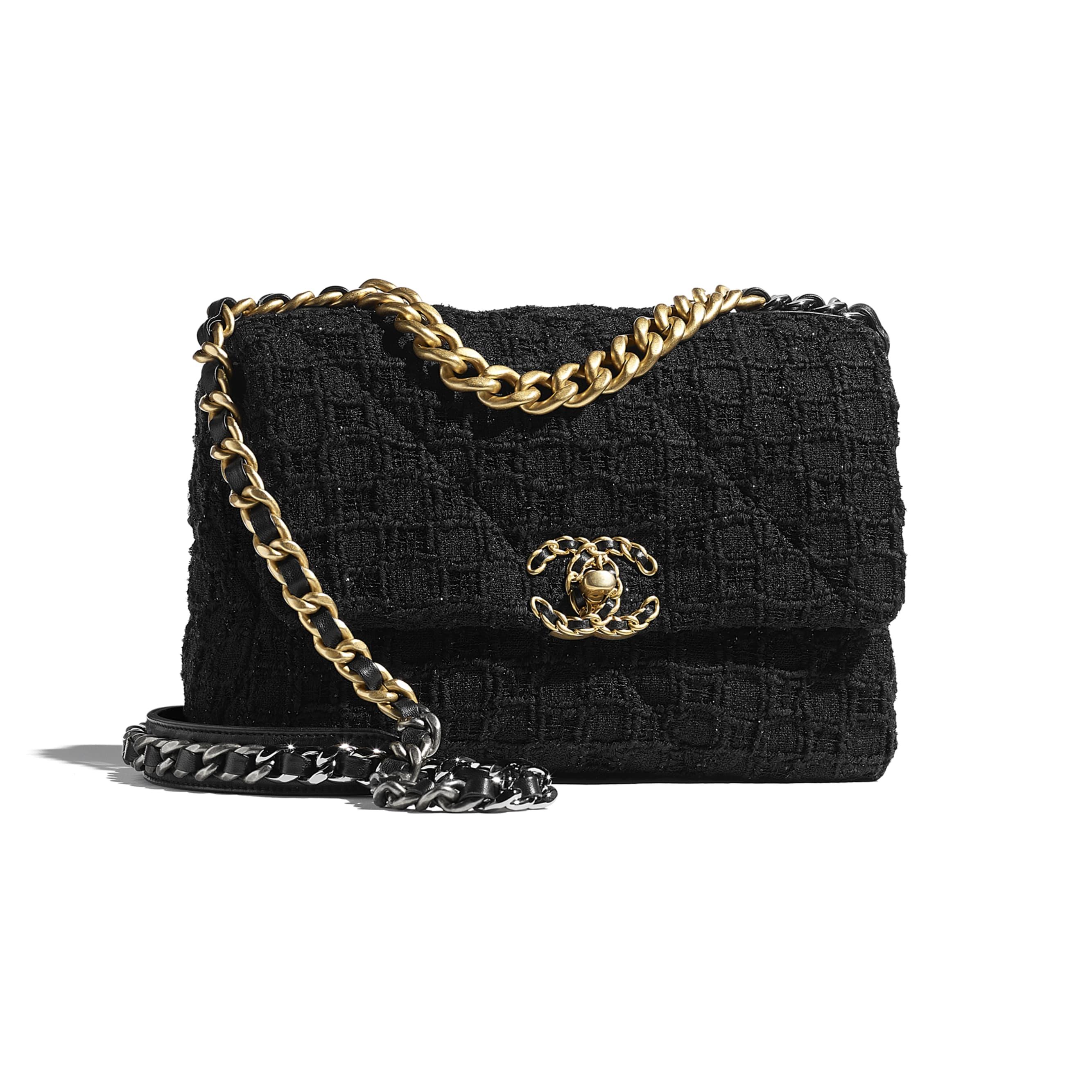 CHANEL 19 Handbag - Black - Tweed, Gold-Tone, Silver-Tone & Ruthenium-Finish Metal - CHANEL - Default view - see standard sized version