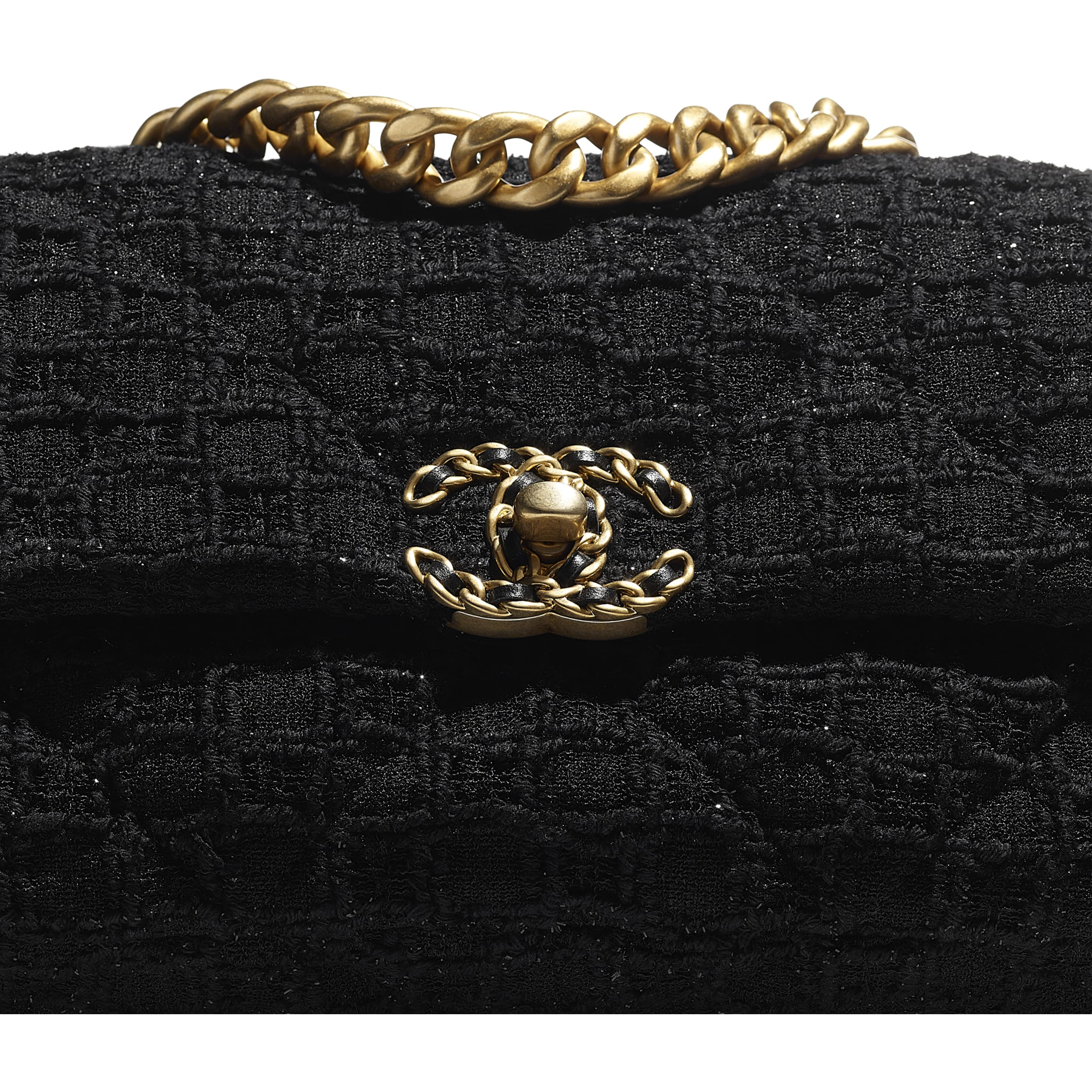 CHANEL 19 Handbag - Black - Tweed, Gold-Tone, Silver-Tone & Ruthenium-Finish Metal - CHANEL - Extra view - see standard sized version