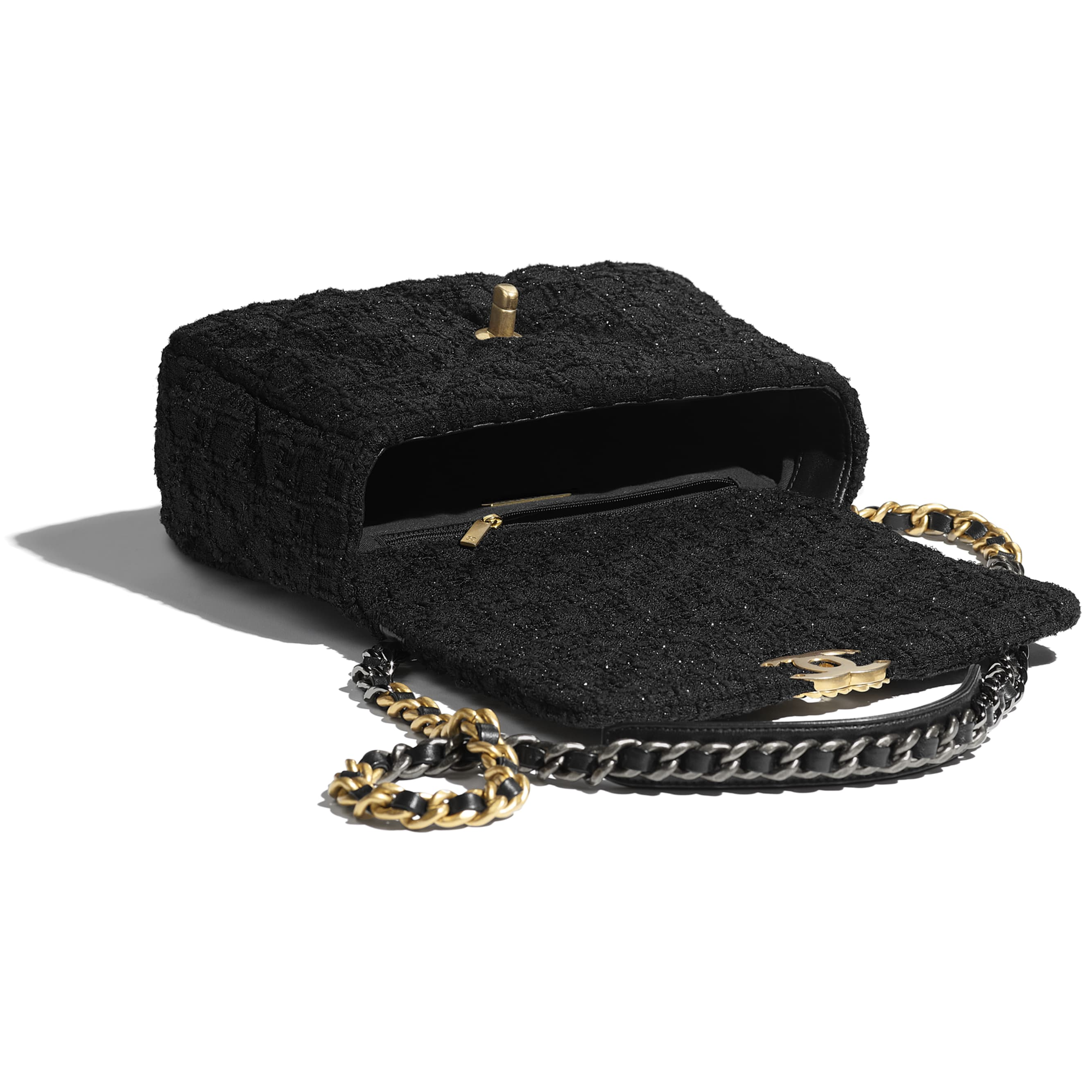 CHANEL 19 Handbag - Black - Tweed, Gold-Tone, Silver-Tone & Ruthenium-Finish Metal - CHANEL - Other view - see standard sized version